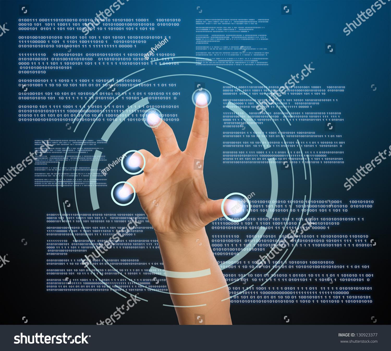 Virtual Screen Fingerprint Identification System Stock Photo ...