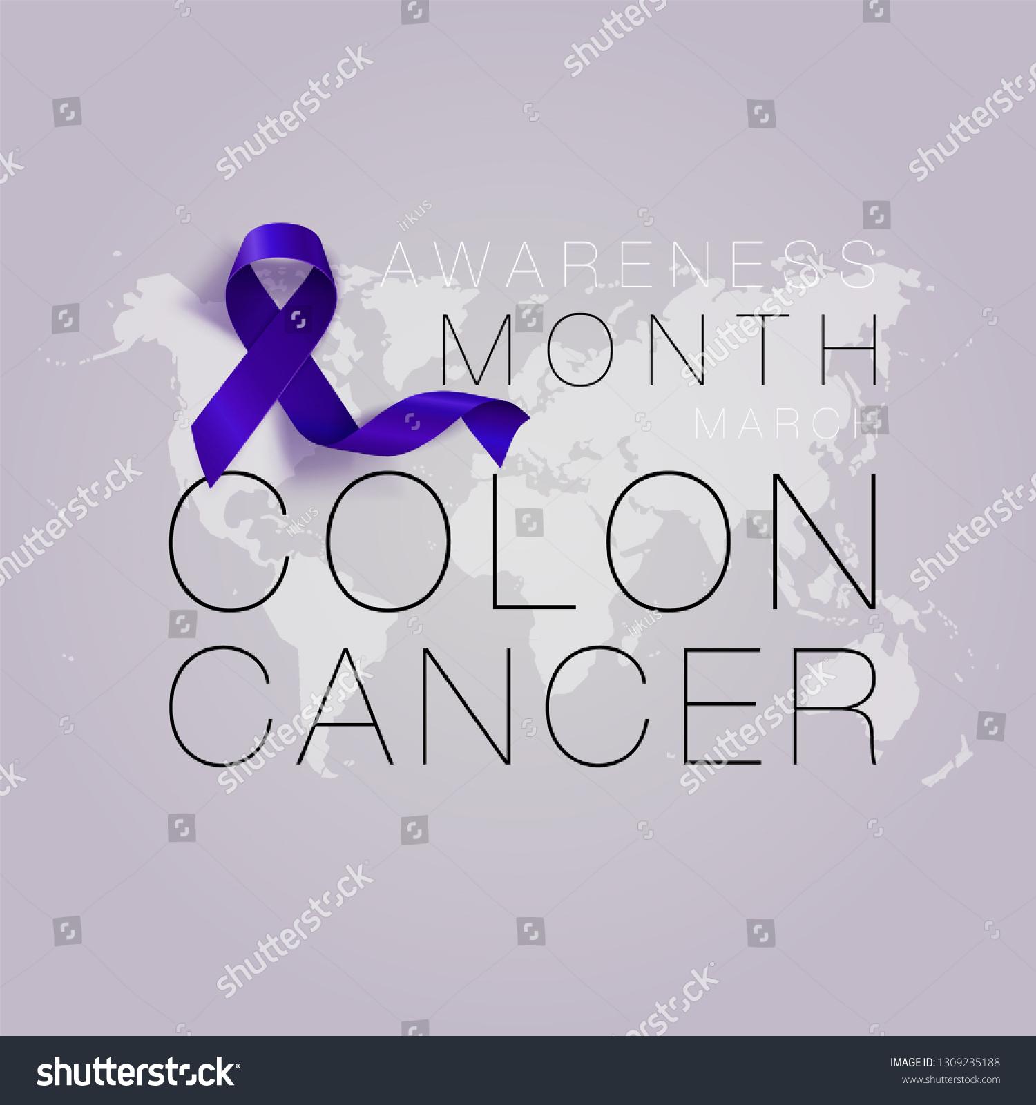 Colon Cancer Awareness Calligraphy Poster Design Stock Vector Royalty Free 1309235188