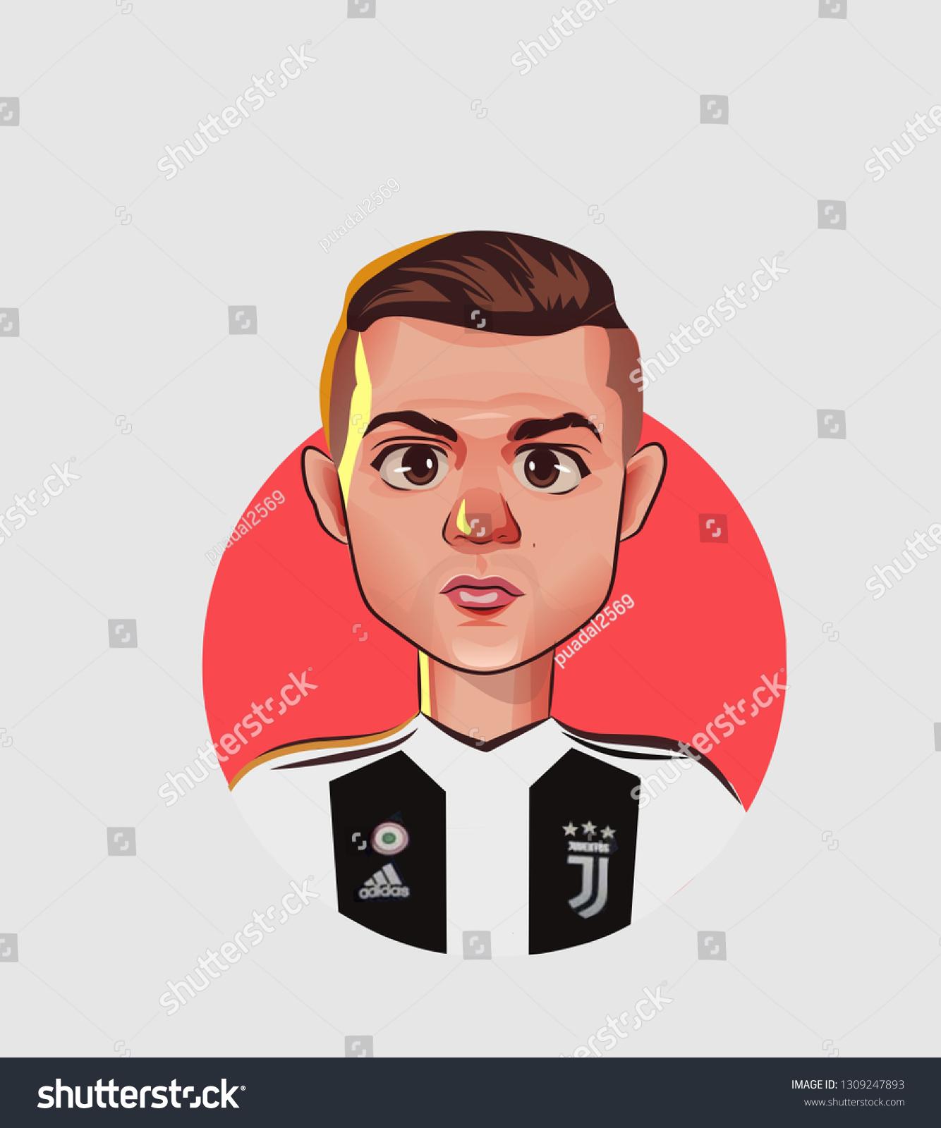 Cristiano Ronaldo Cartoon Illustration Stock Illustration 1309247893