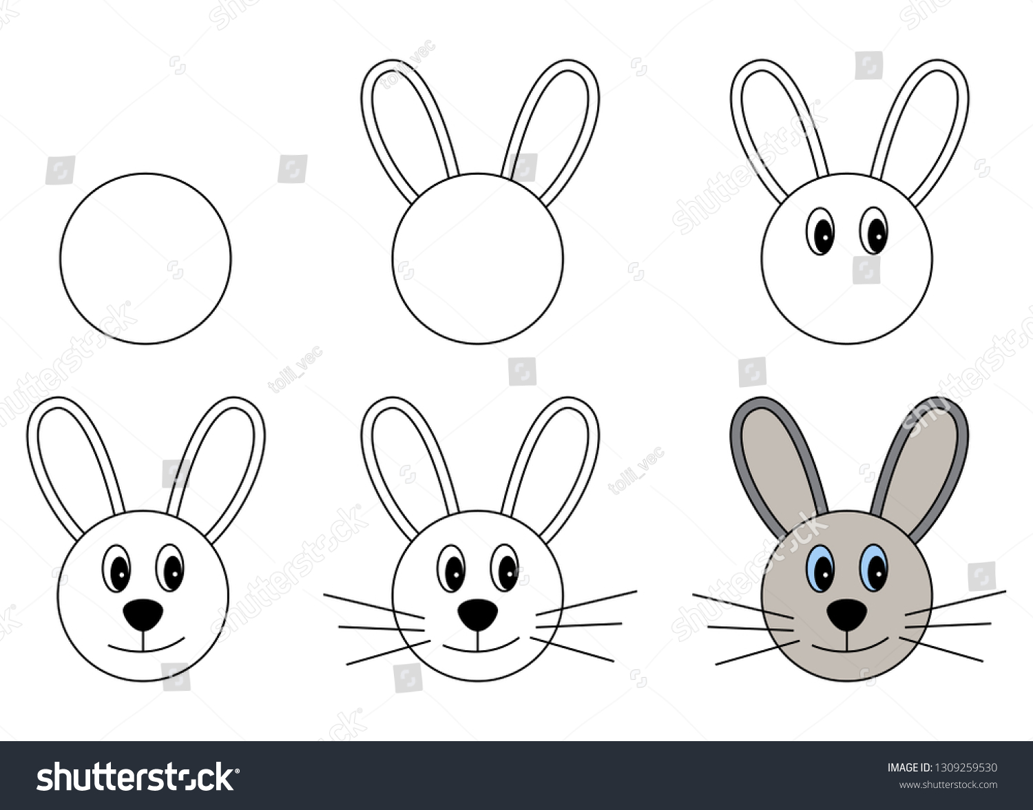 Worksheet Step By Step Drawing Rabbit Stock Vector Royalty Free 1309259530
