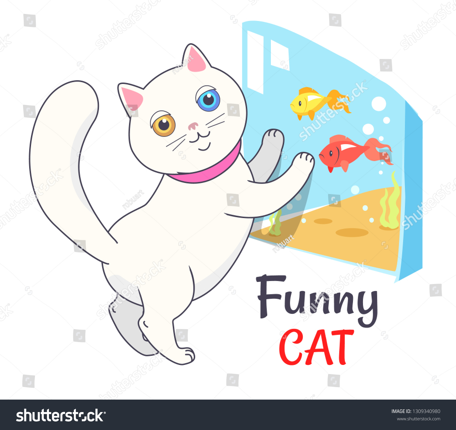 Funny white cat looking at aquarium with fish transparent tank with water and cute feline kitten in pink collar raster illustration isolated on light