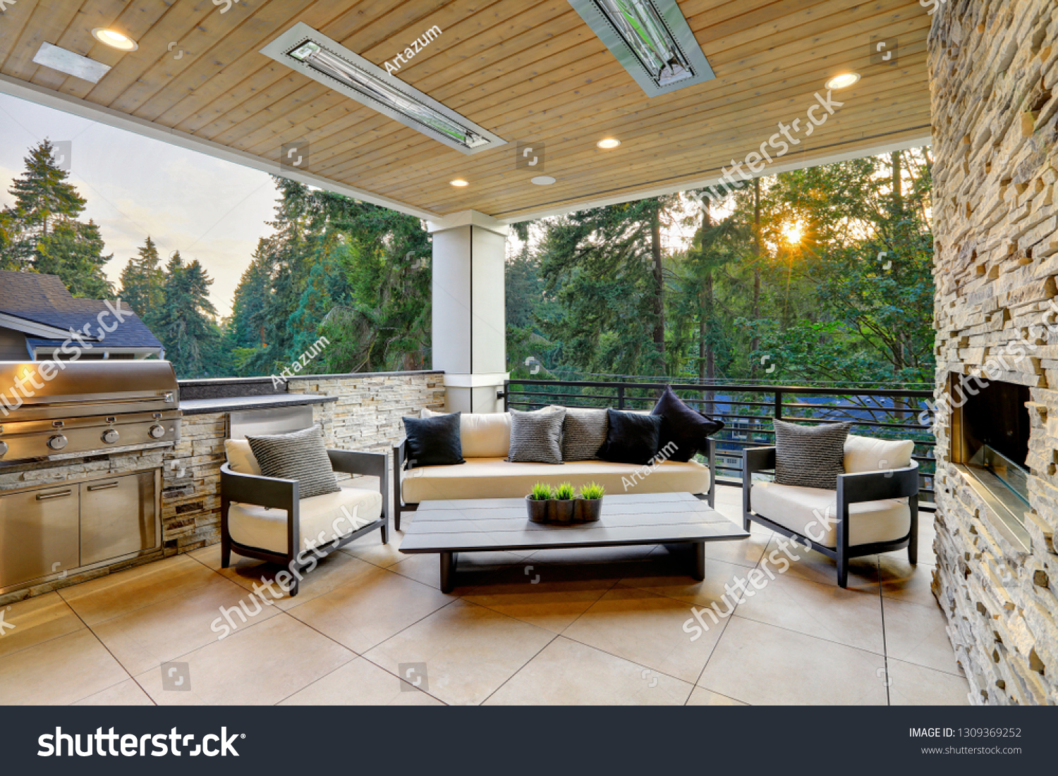 Luxury Modern House Exterior Covered Patio Stock Photo Edit Now