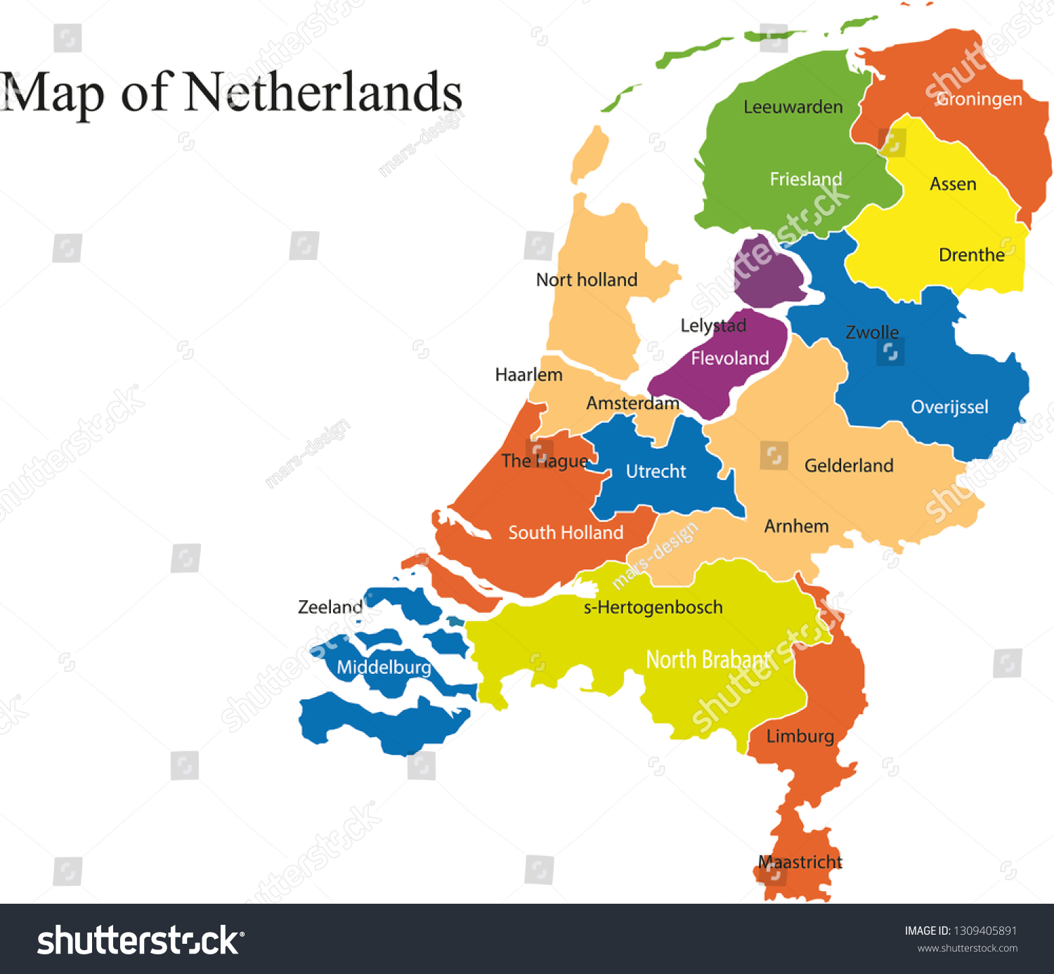 Picture of: Netherlands Map Vector Illustration Netherlands Map Stock Vector Royalty Free 1309405891