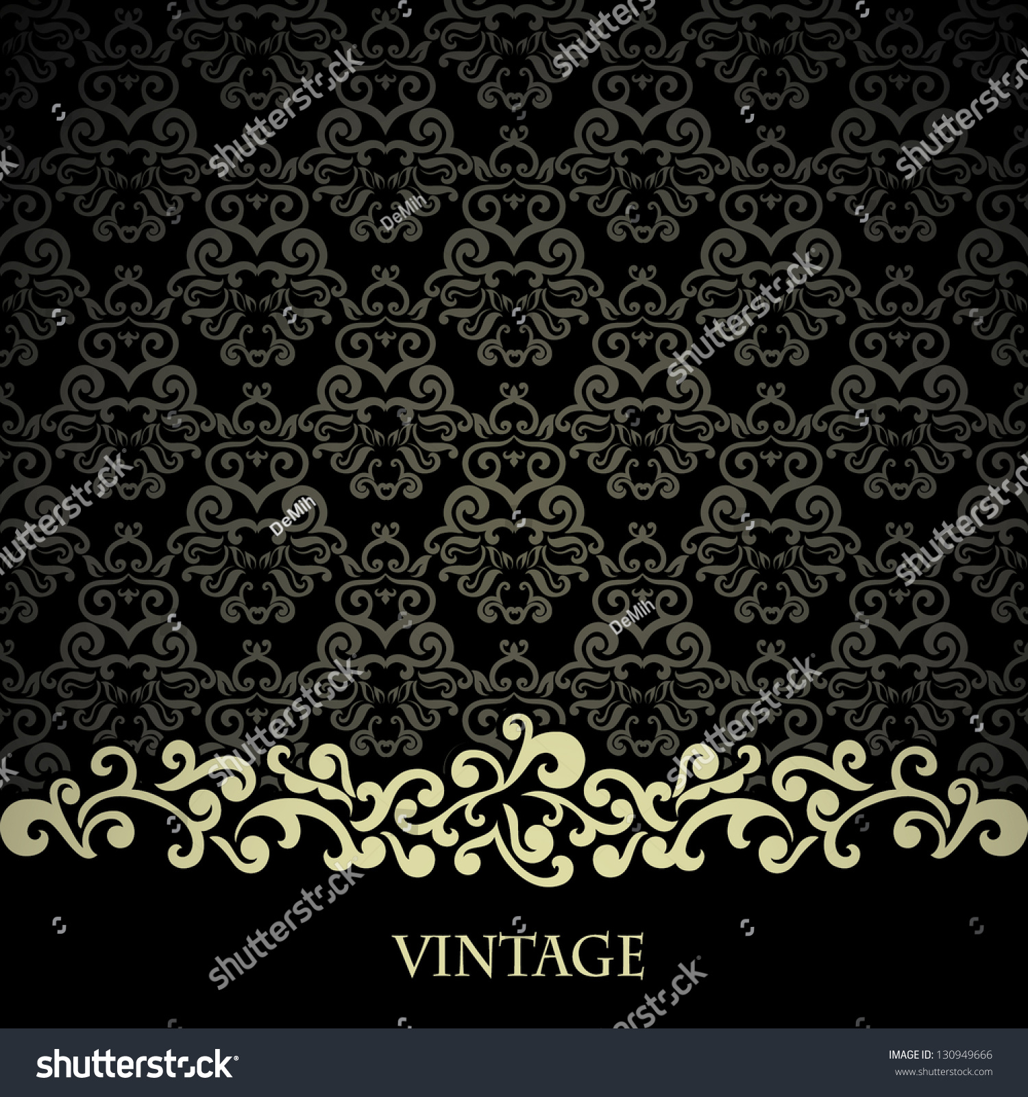 Vintage Card On Black Damask Wallpaper