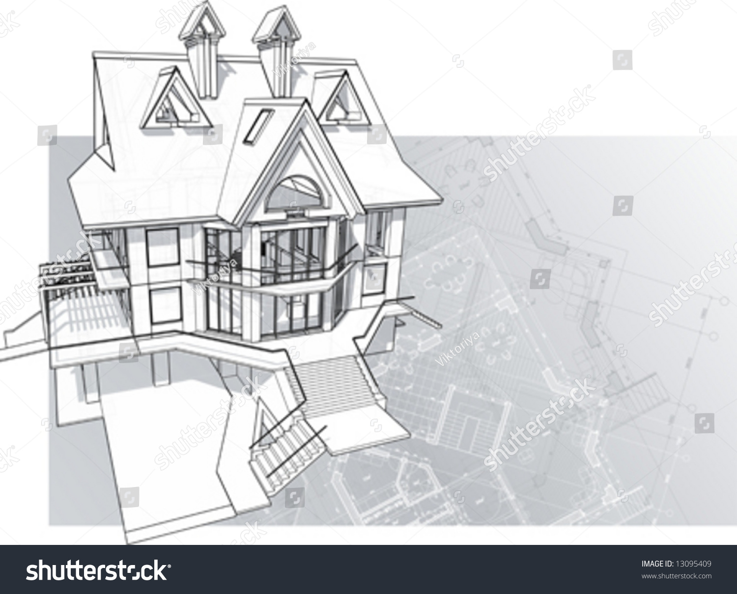Modern house concept vector technical draw