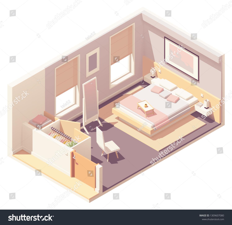 Vector Isometric Bedroom Double Bed Carpet Stock Vector