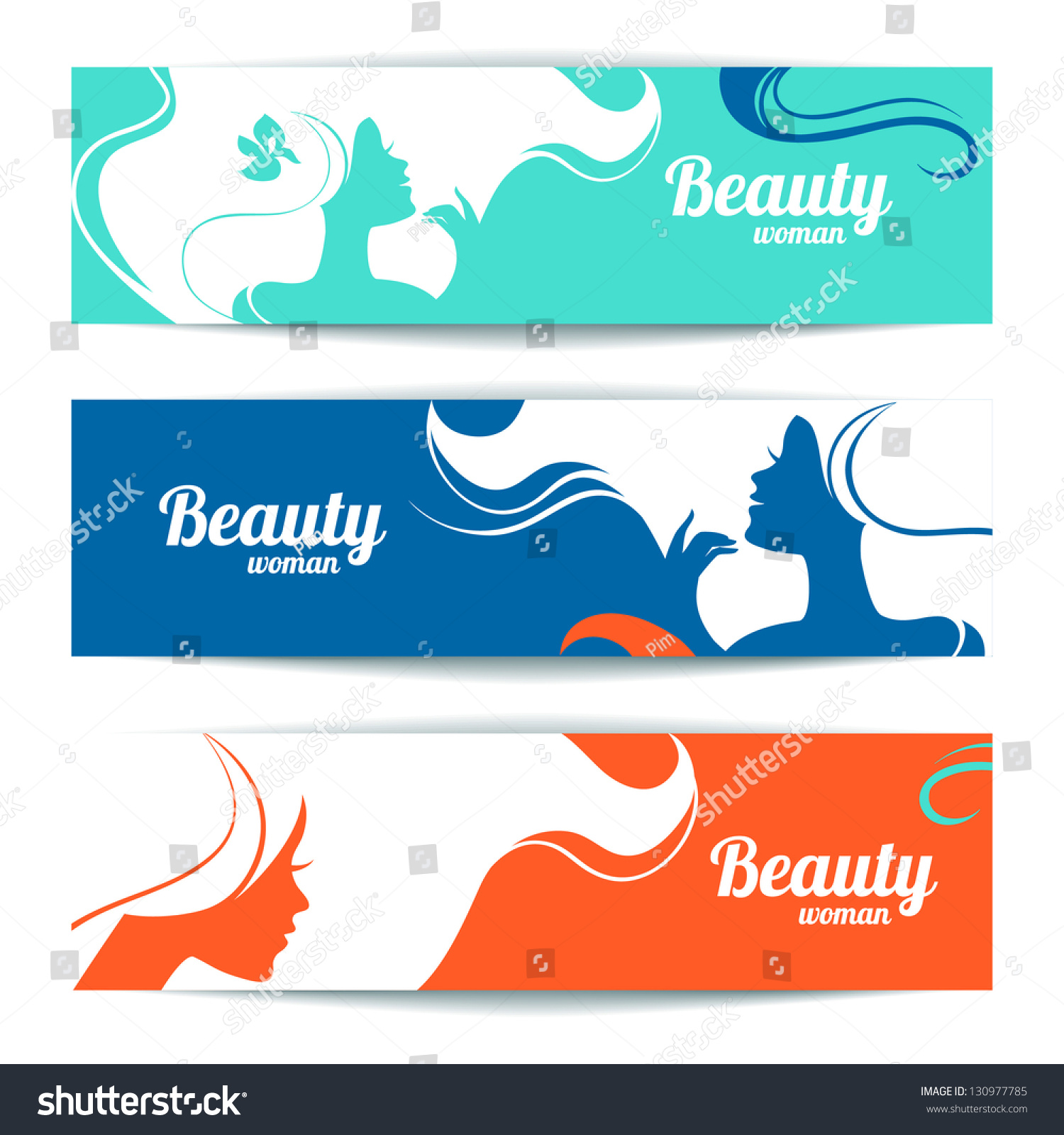 Banners Stylish Beautiful Woman Silhouette Template Vector de stock ...
