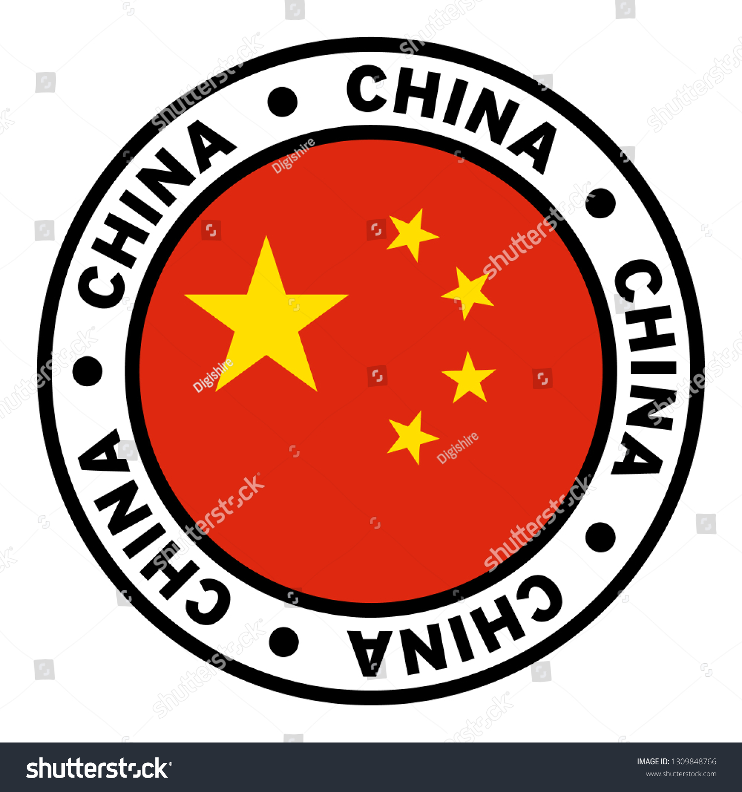 Round China Flag Clipart Stock Vector Royalty Free 1309848766