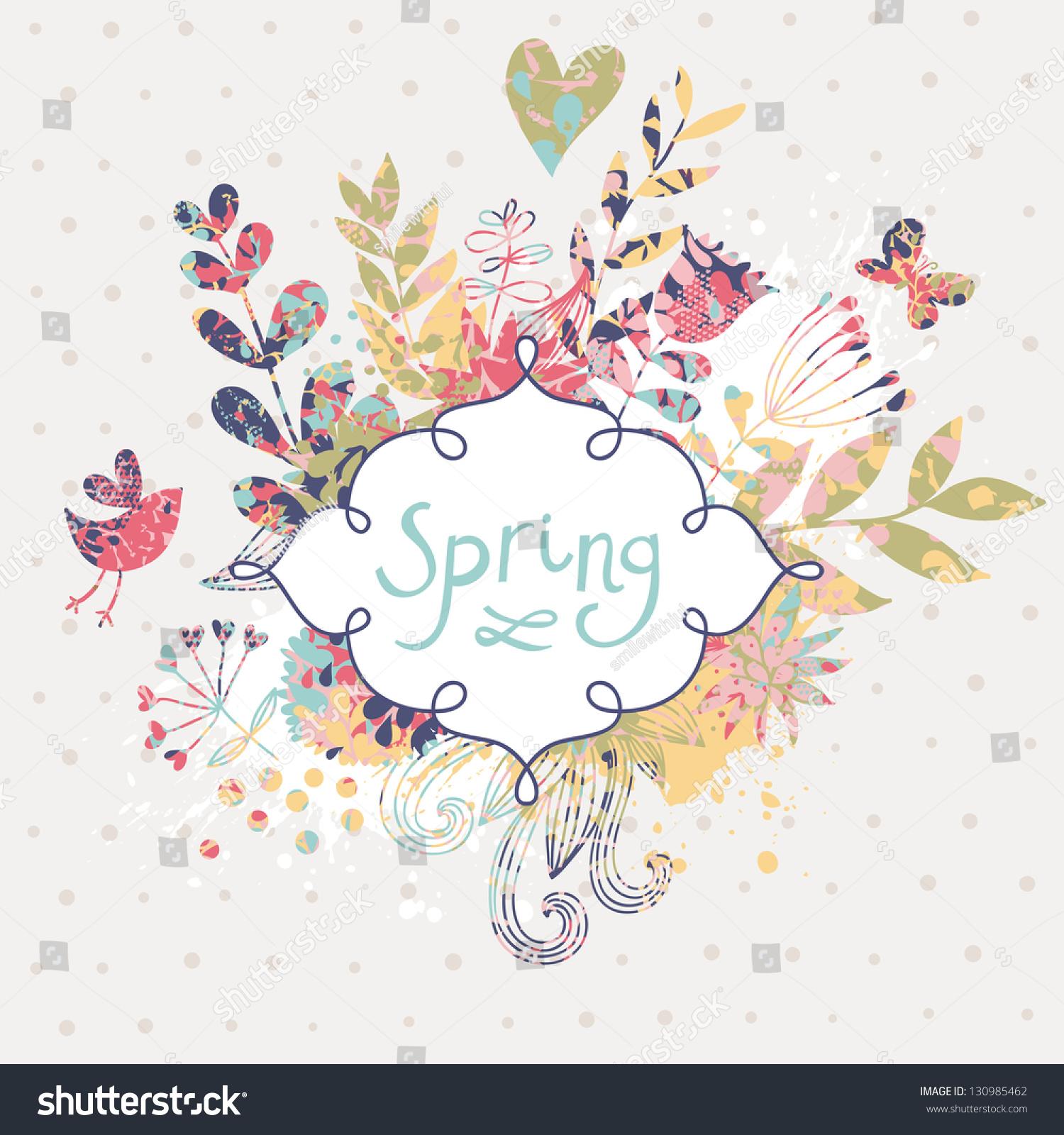 Spring Floral Design Element Birds Flowers Stock Vector 130985462 - Shutterstock