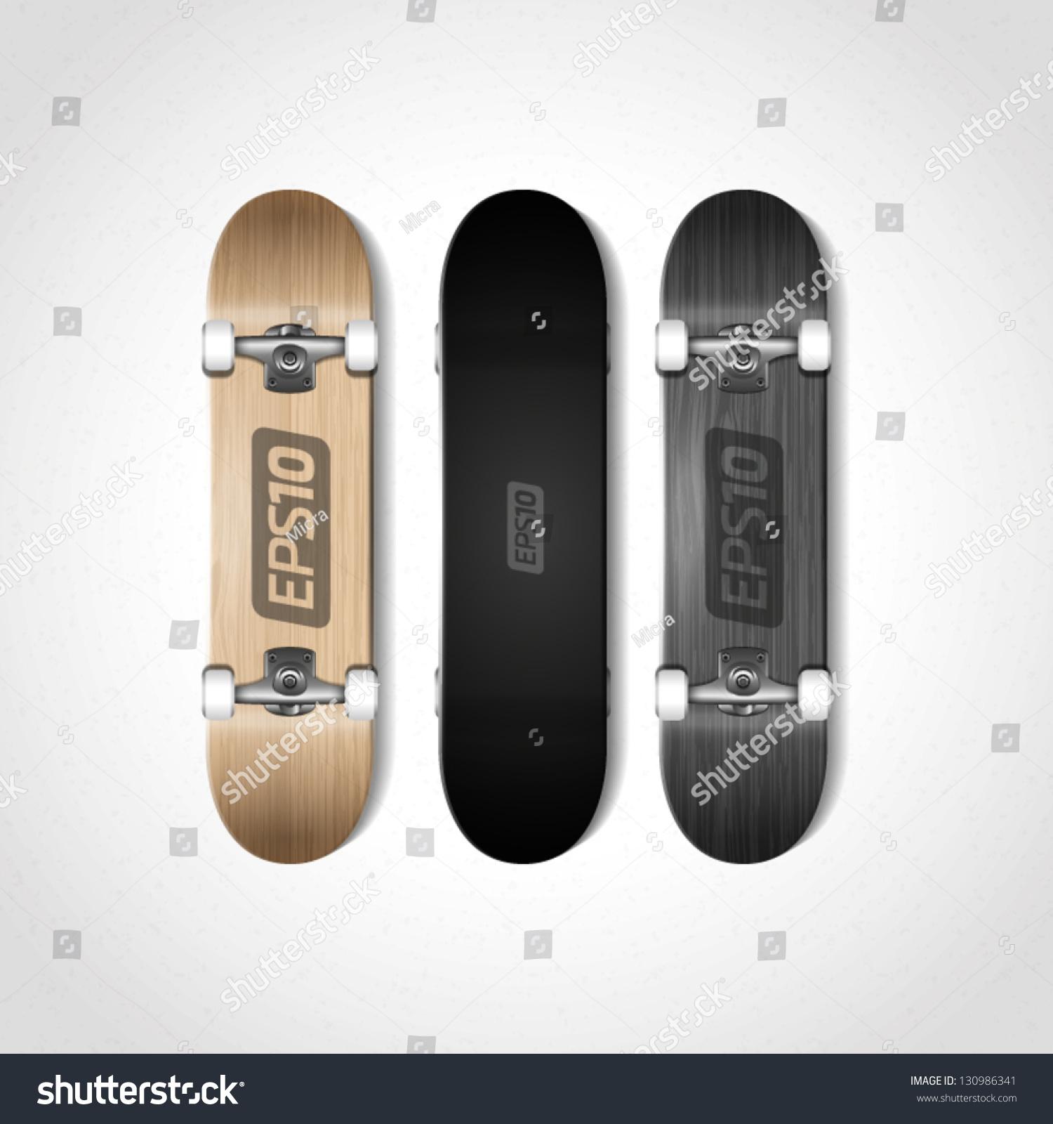 longboard truck template - photorealistic skateboard template stock vector 130986341