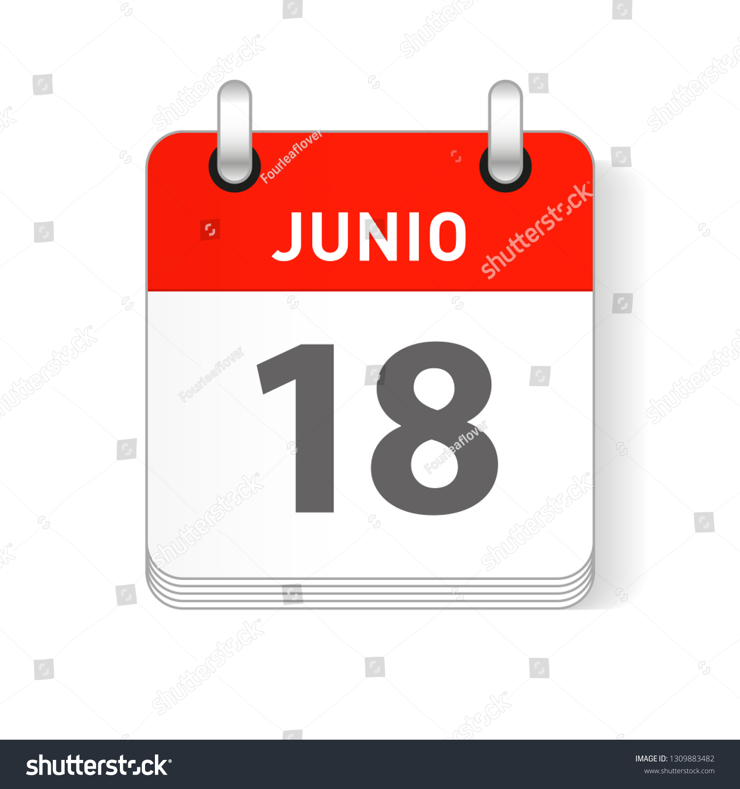 Junio 18, June 18 date visible on a page a day organizer calendar in  spanish Language
