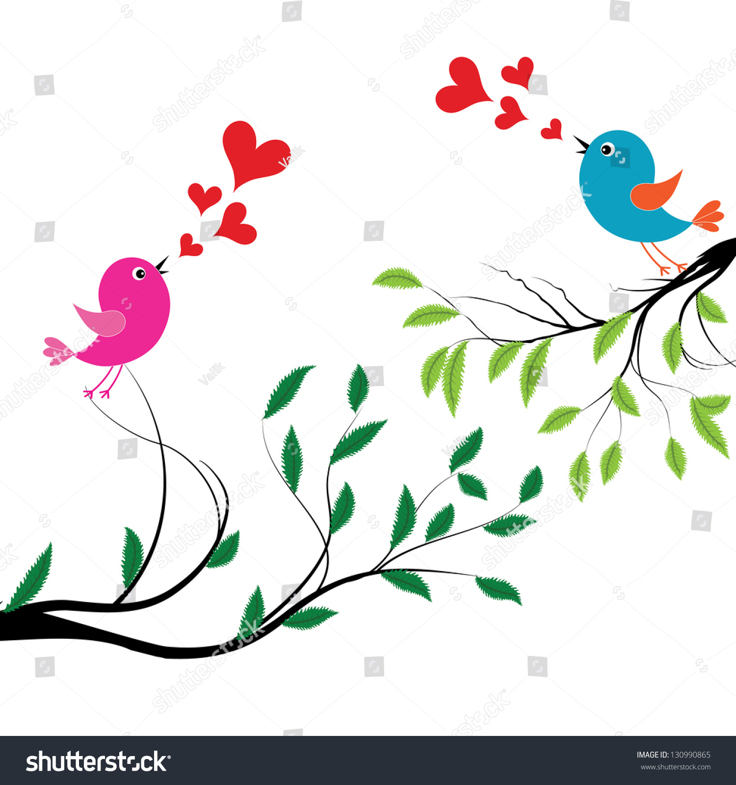 Wedding Tree Vector: Bird Love Vector Illustration Birds Wedding Stock Vector