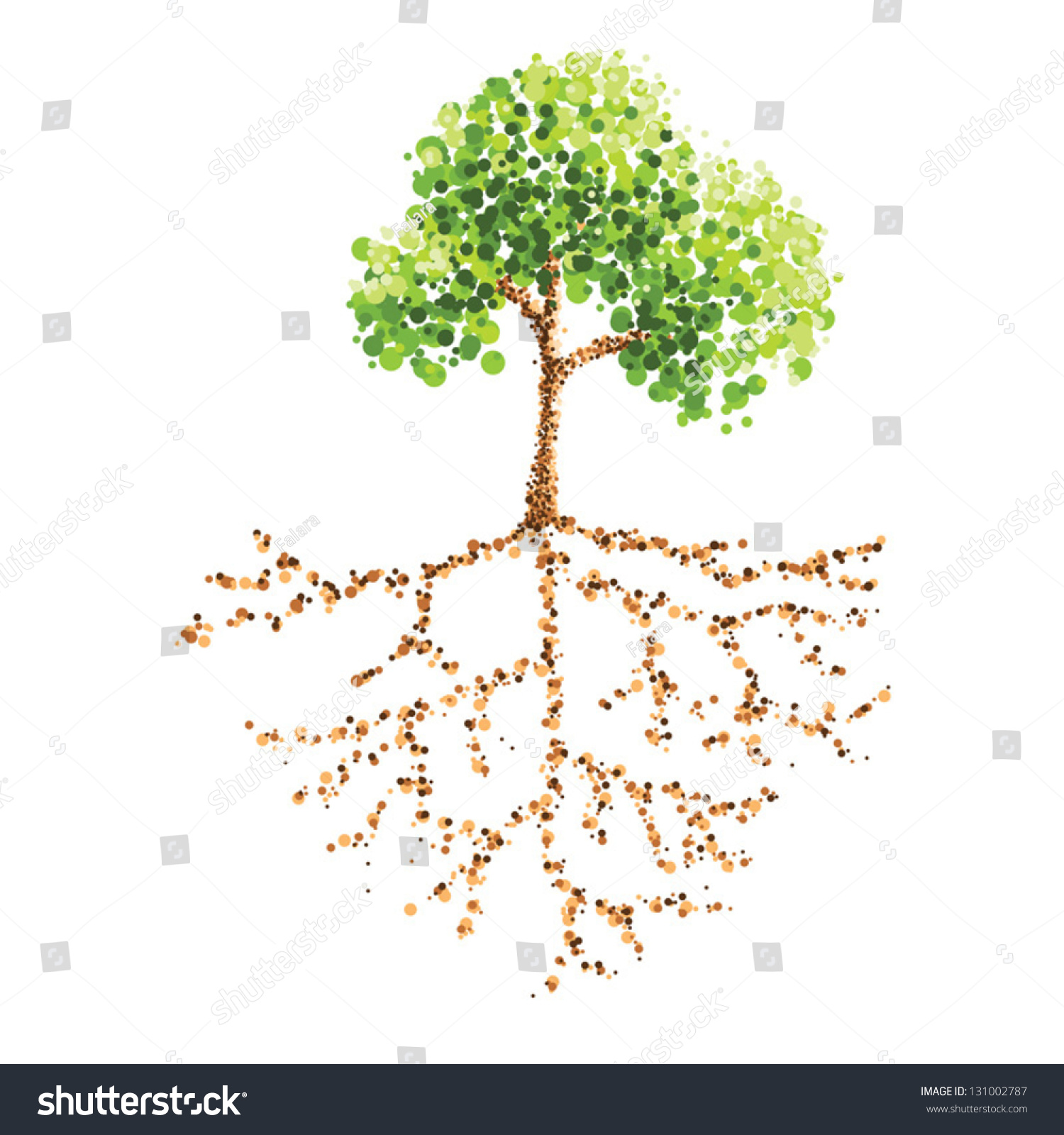 Tree Root Dot Painting Stock Vector Royalty Free 131002787