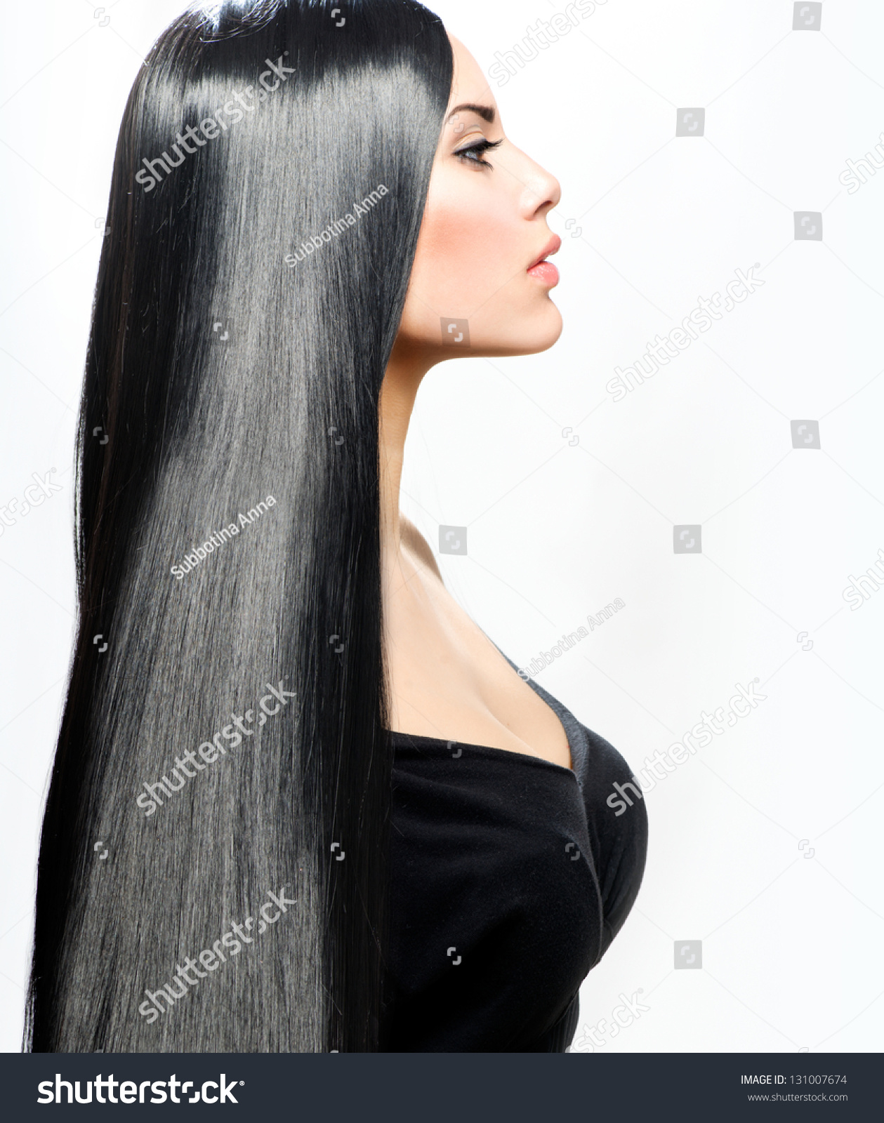 Hair Beauty Girl Long Straight Black Stock Photo 131007674 ...