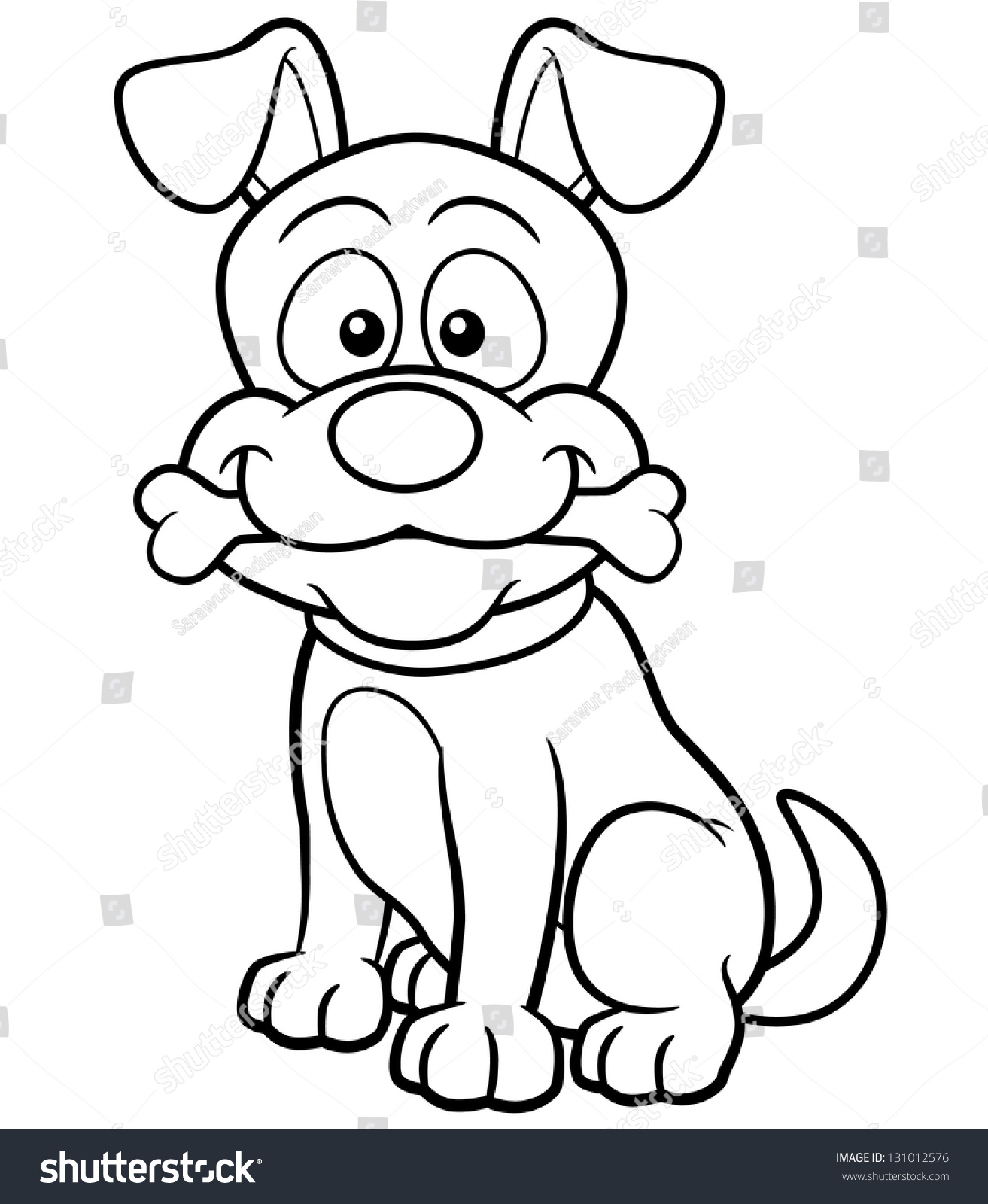 Vector Illustration Cartoon Dog Coloring Book Stock Vector