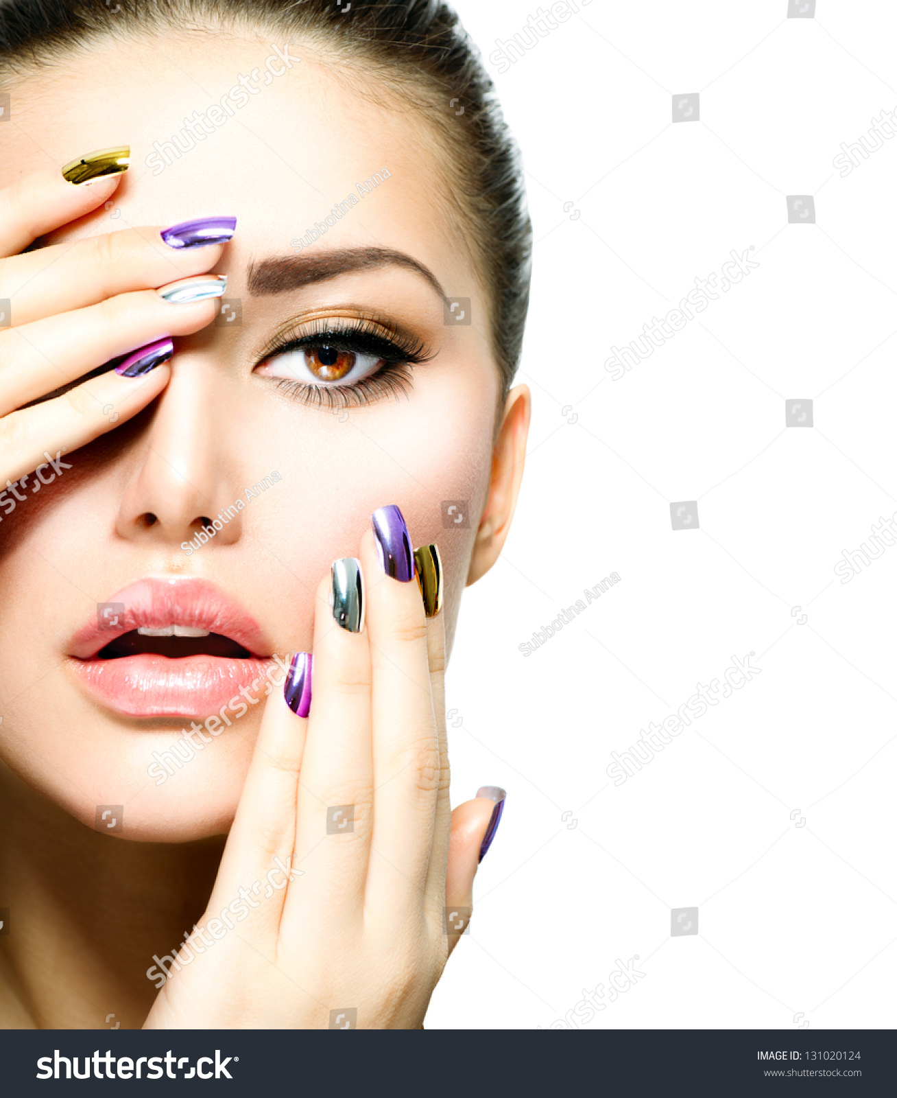Beautiful Fashion Girls Face Makeup Makeup Stock Photo 131020124 - Shutterstock
