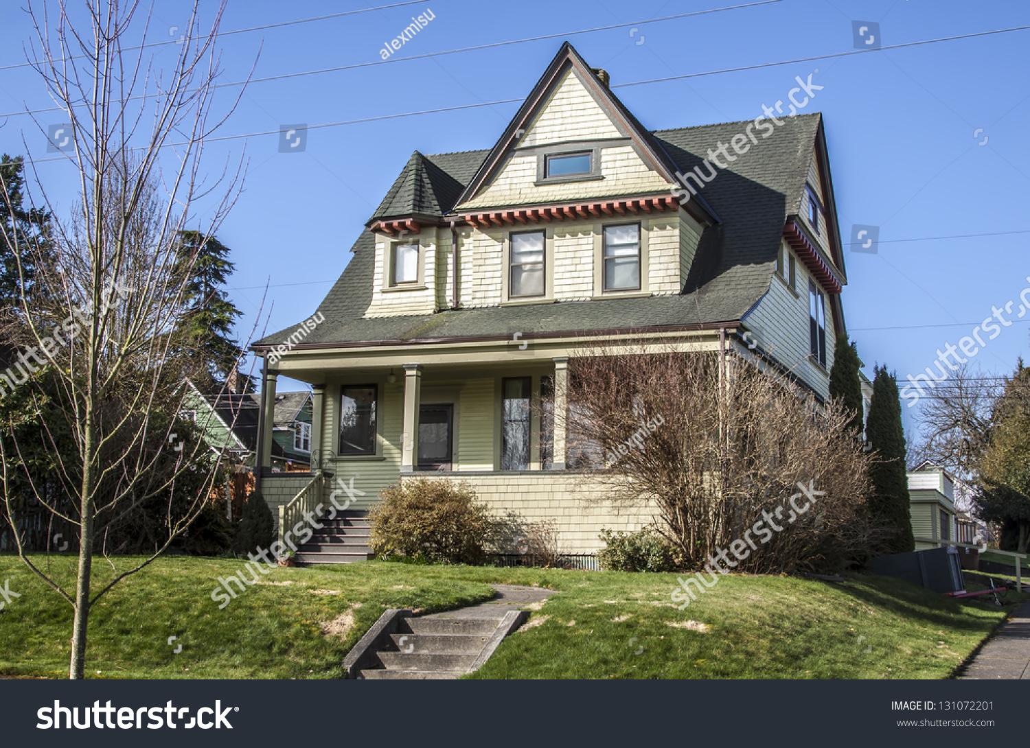 Old american luxury suburbs home with blue sky stock photo for Old american houses