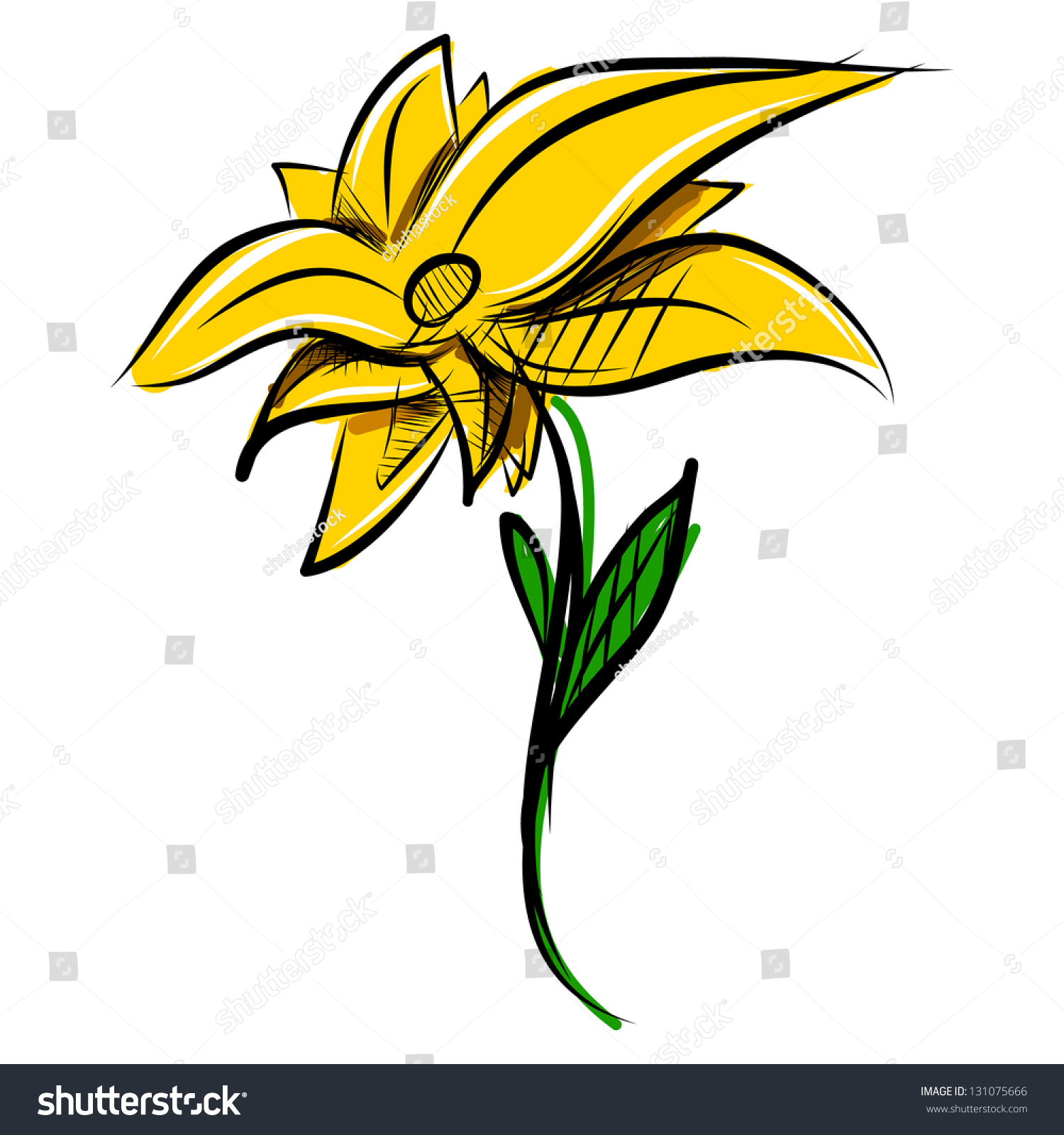 Yellow Flower Hand Drawing Sketch Vector Illustration Ez Canvas