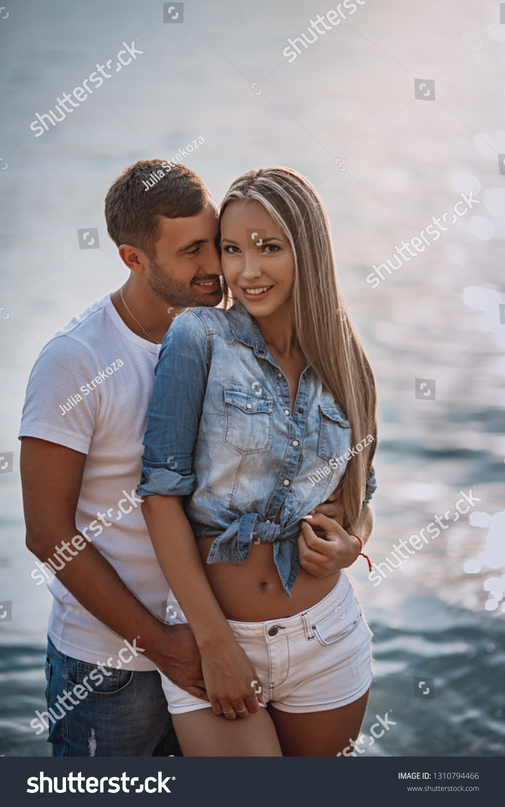 Couple Love See Sunset Beach Young Stock Photo Edit Now 1310794466