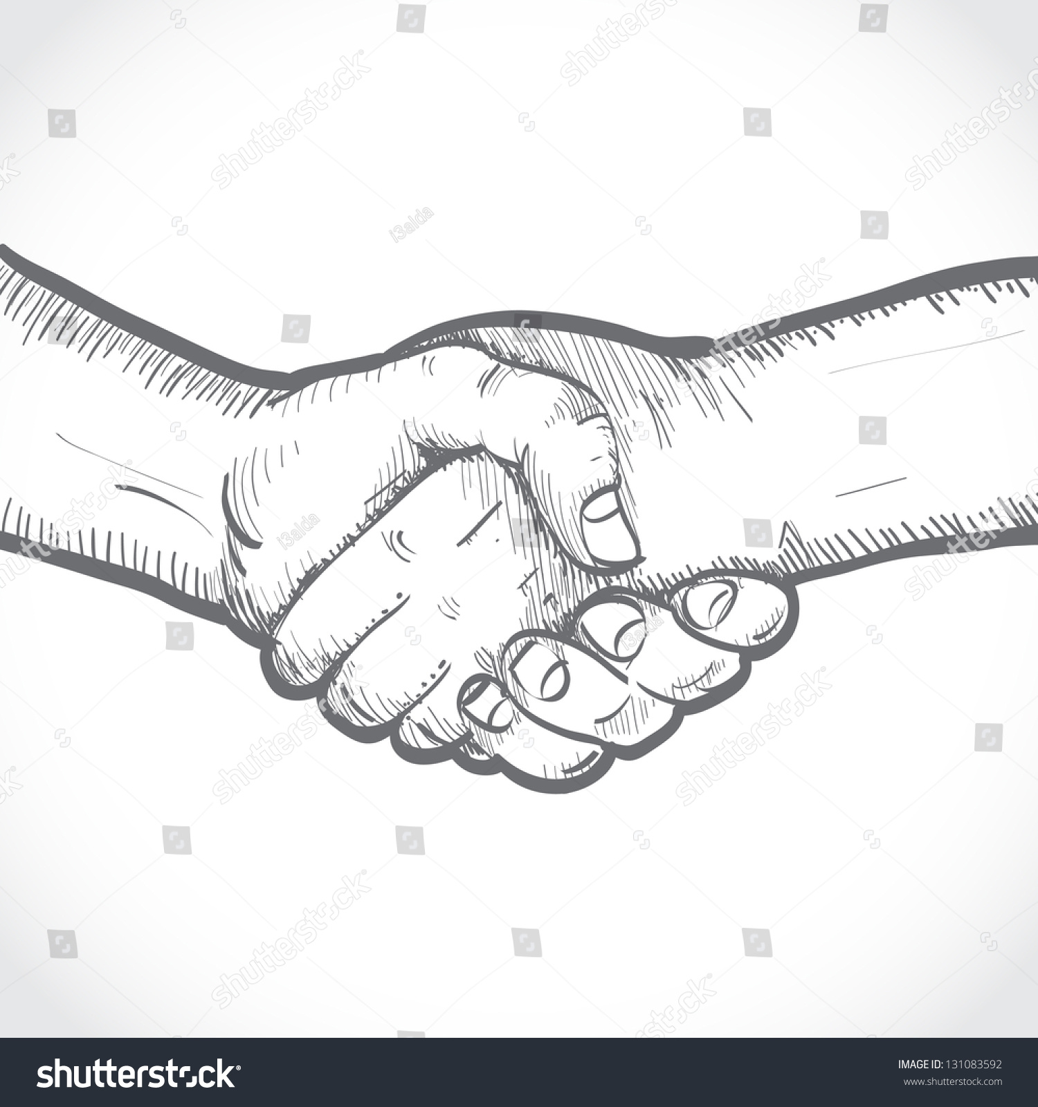 Sketch Of Two Shaking Hands Stock Vector Illustration ...