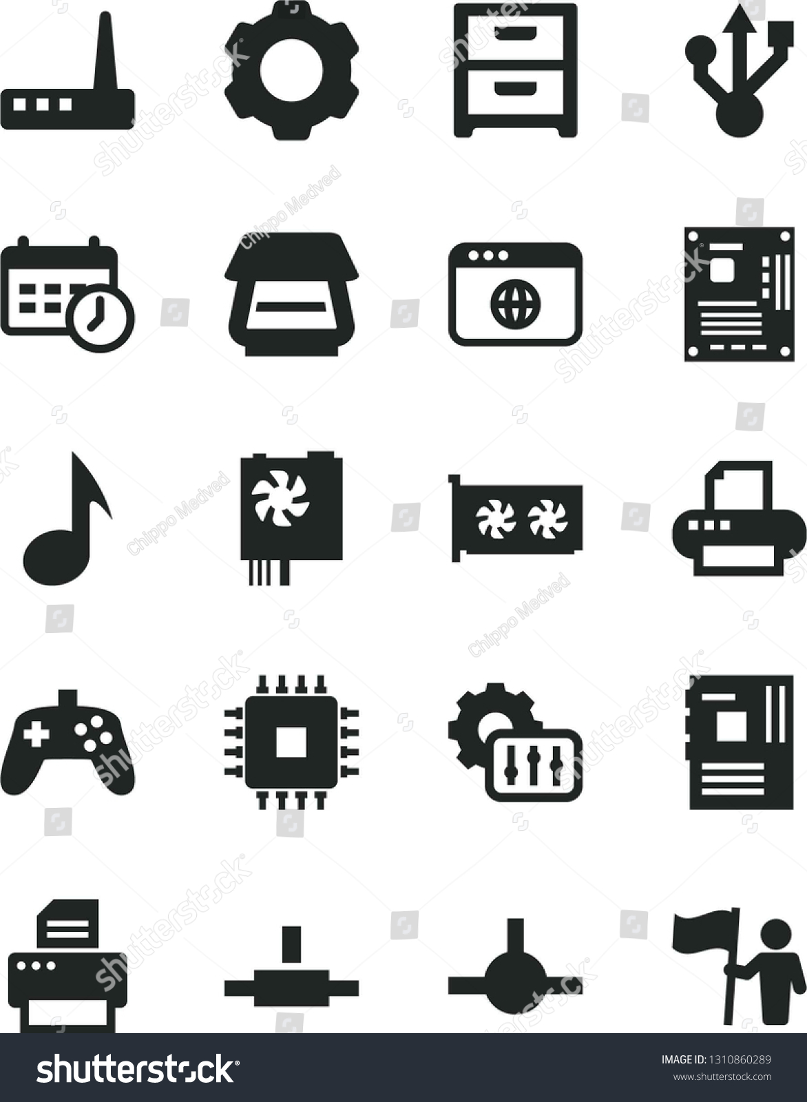 Solid Black Vector Icon Set Nightstand Stock Vector (Royalty
