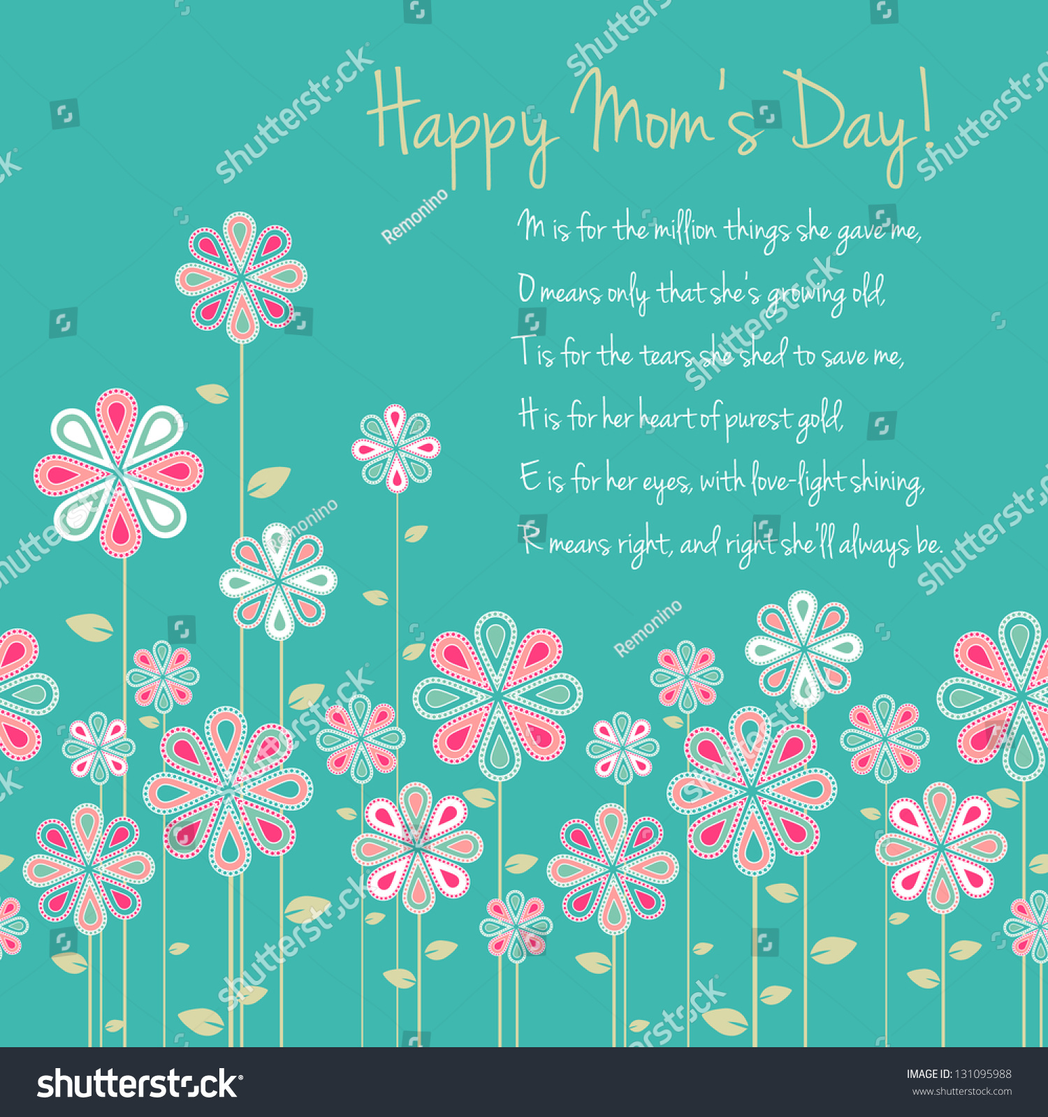Happy Mothers Day Card Design Vector Stock Vector 131095988 ...