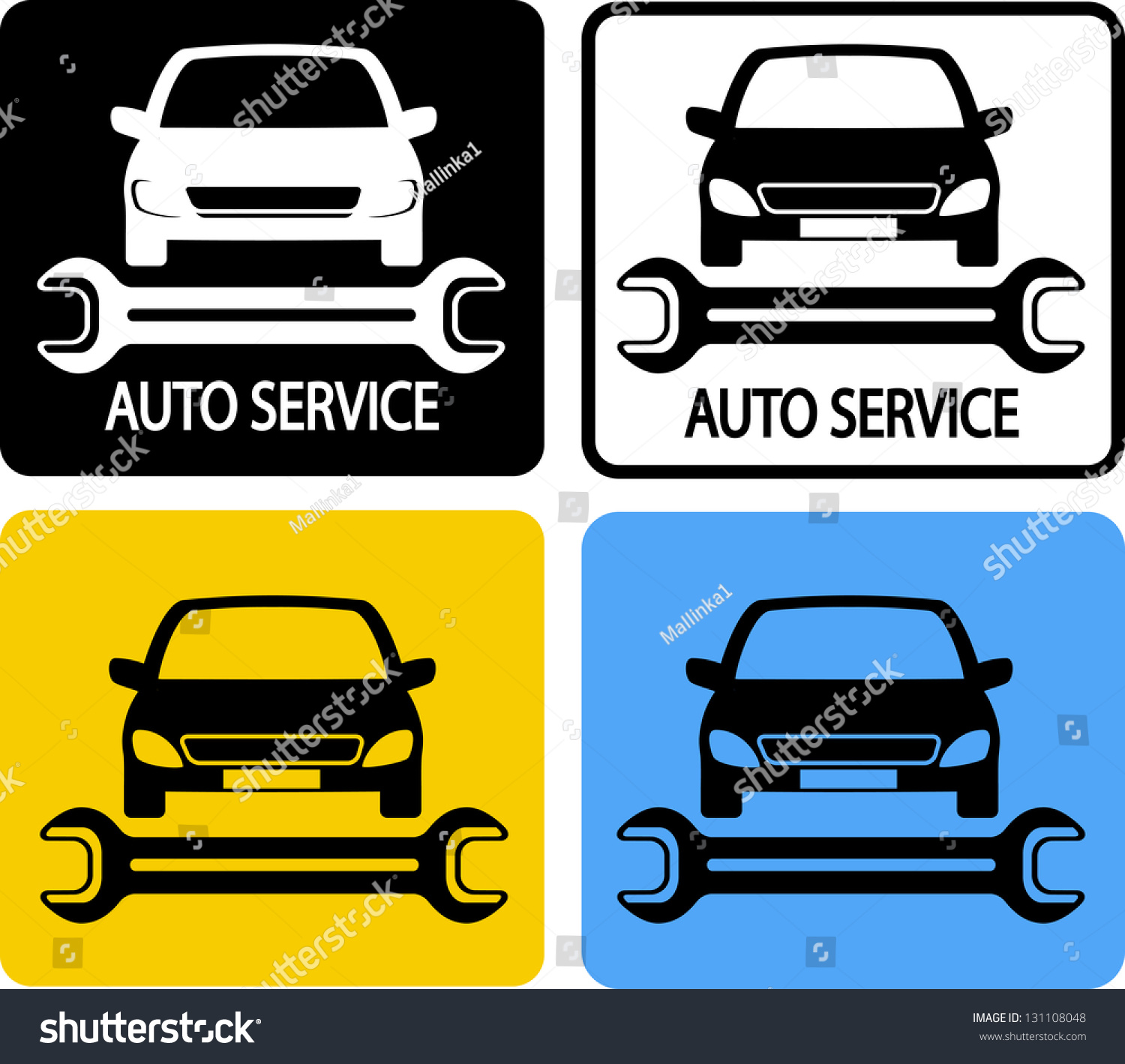 auto service icons set car silhouette stock vector. Black Bedroom Furniture Sets. Home Design Ideas