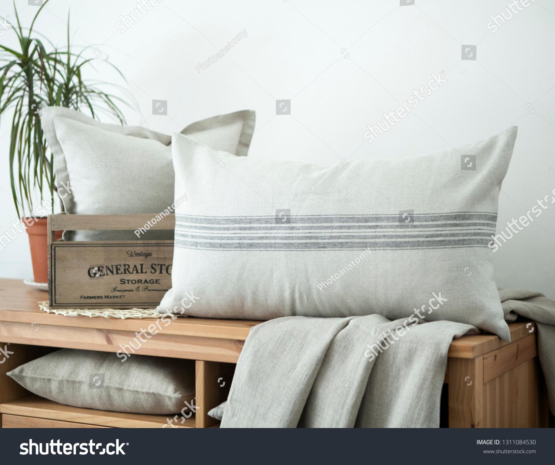 Farmhouse Style Linen Pillows Composition On Stock Photo Edit Now 1311084530