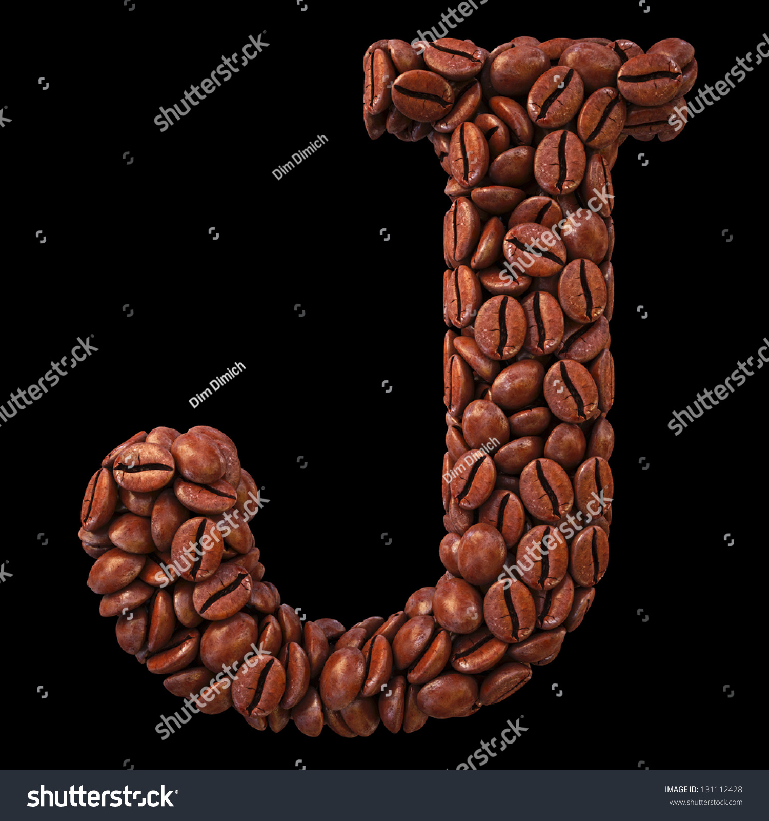 Alphabet Coffee Beans Isolated On Black Stock Illustration 131112428 ...