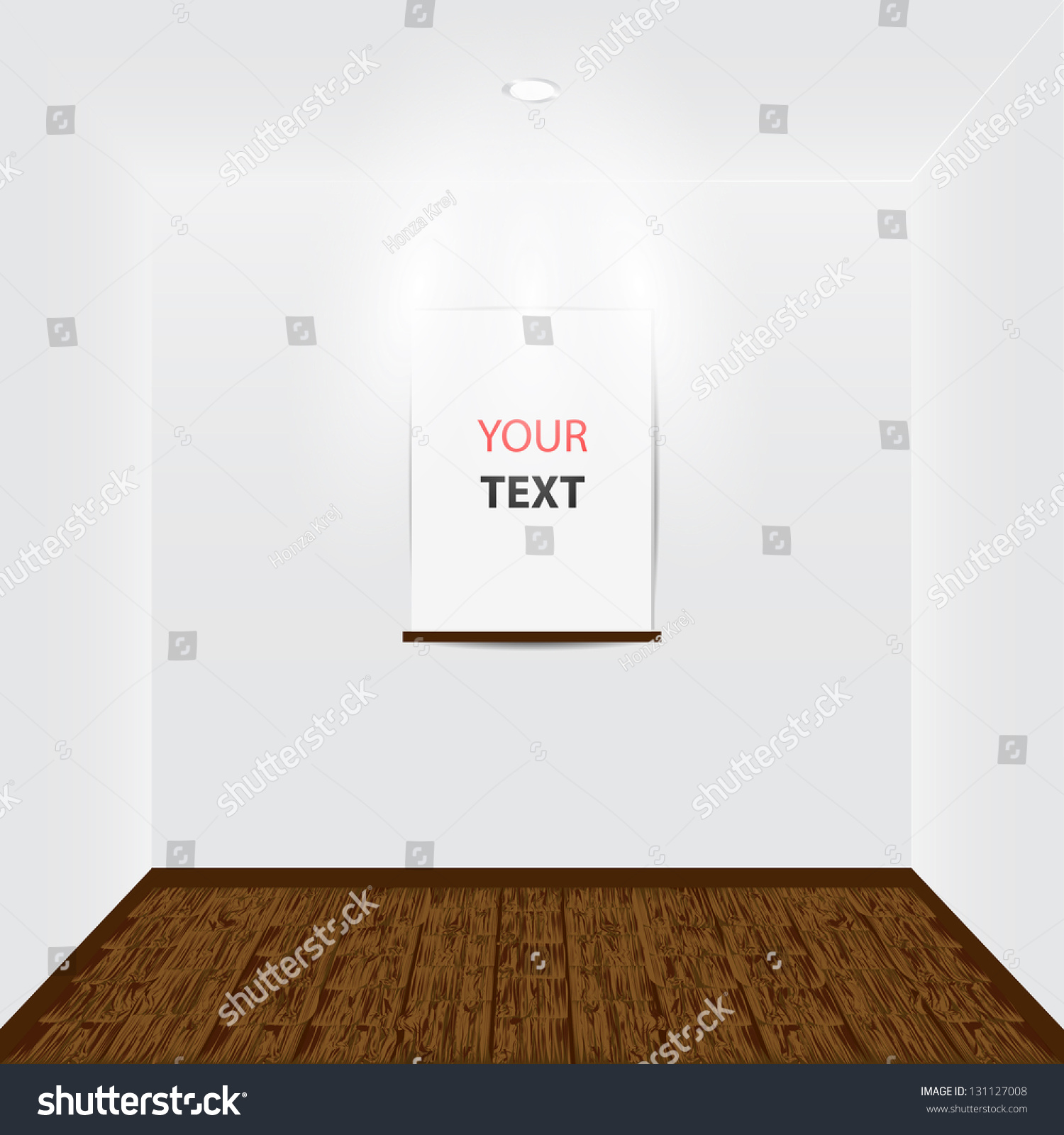 empty room with place for your text and light and wooden floor
