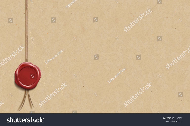Certificate Template Wax Seal Blank Manuscript Stock Vector Royalty Free 1311367022