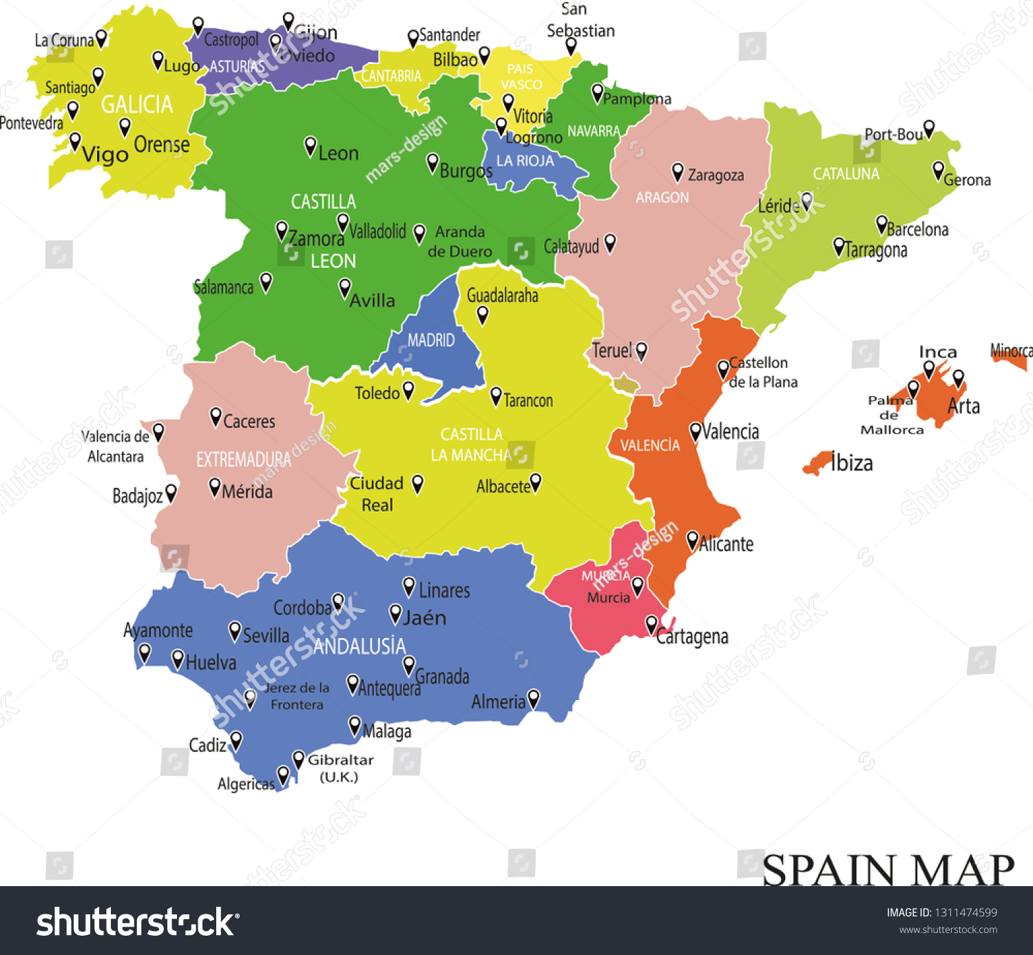 Map Of Spain Showing Regions.Spain Map Drawing Map Spain Regions Stock Vector Royalty Free