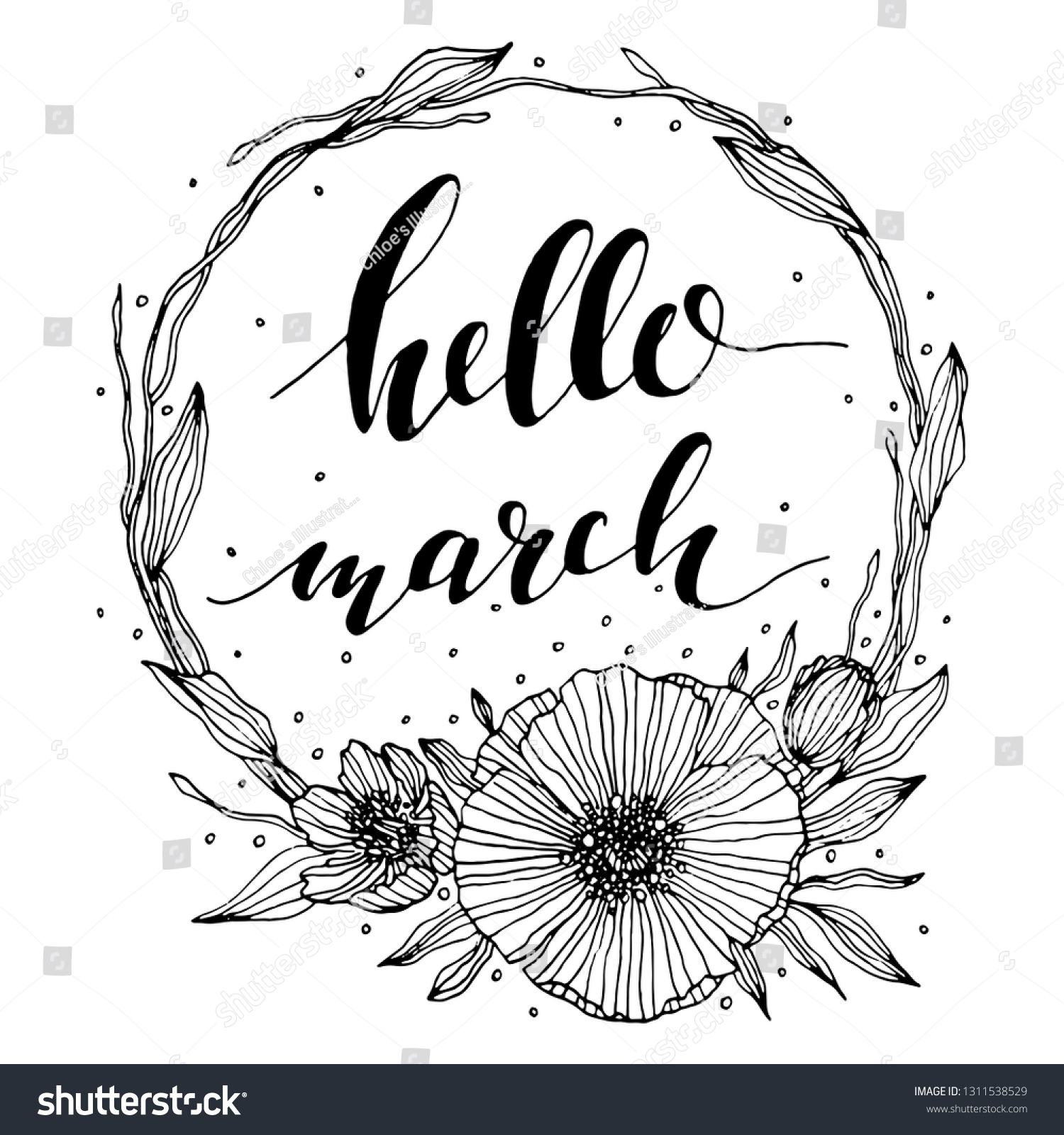 stock-vector-vector-hello-march-letterin