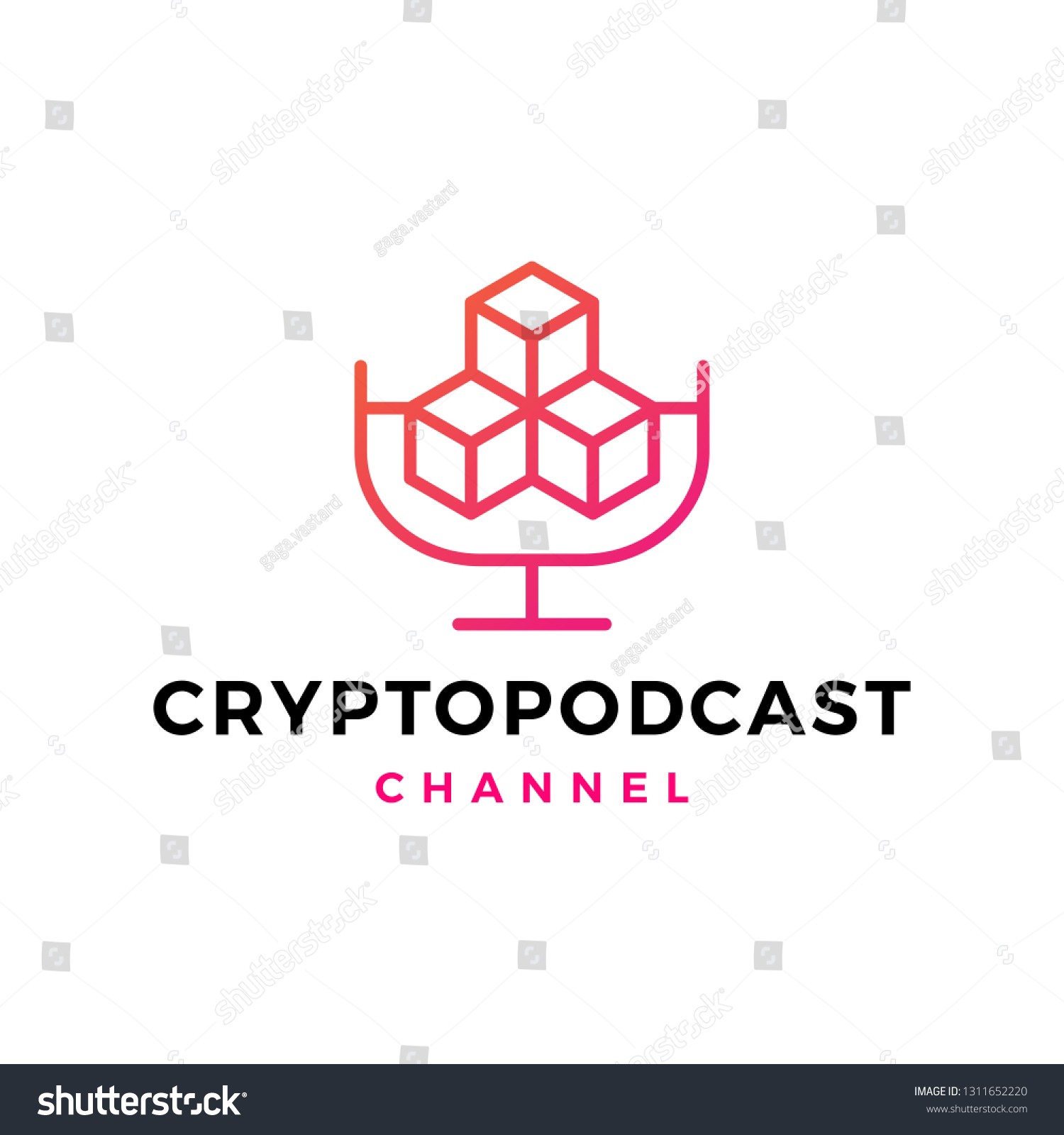 Crypto Podcast Logo Icon Blockchain Cryptocurrency Stock