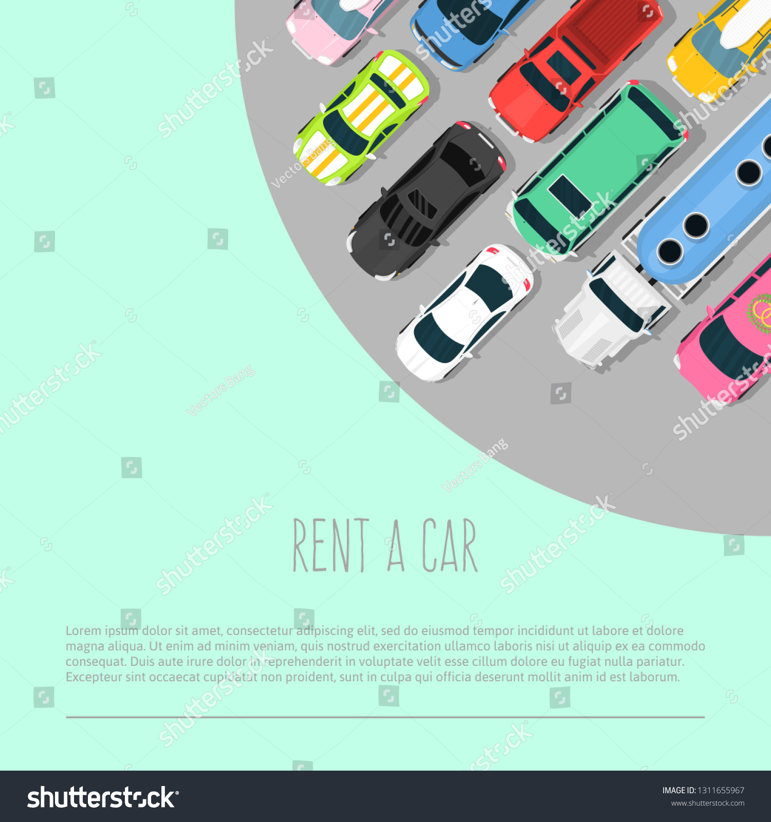 Car Rent Vector Illustration Choosing Best Stock Vector Royalty Free 1311655967