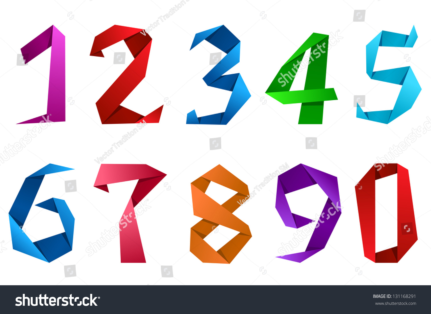 Colorful Digits Numbers Origami Paper Style Stock Vector 131168291 ...