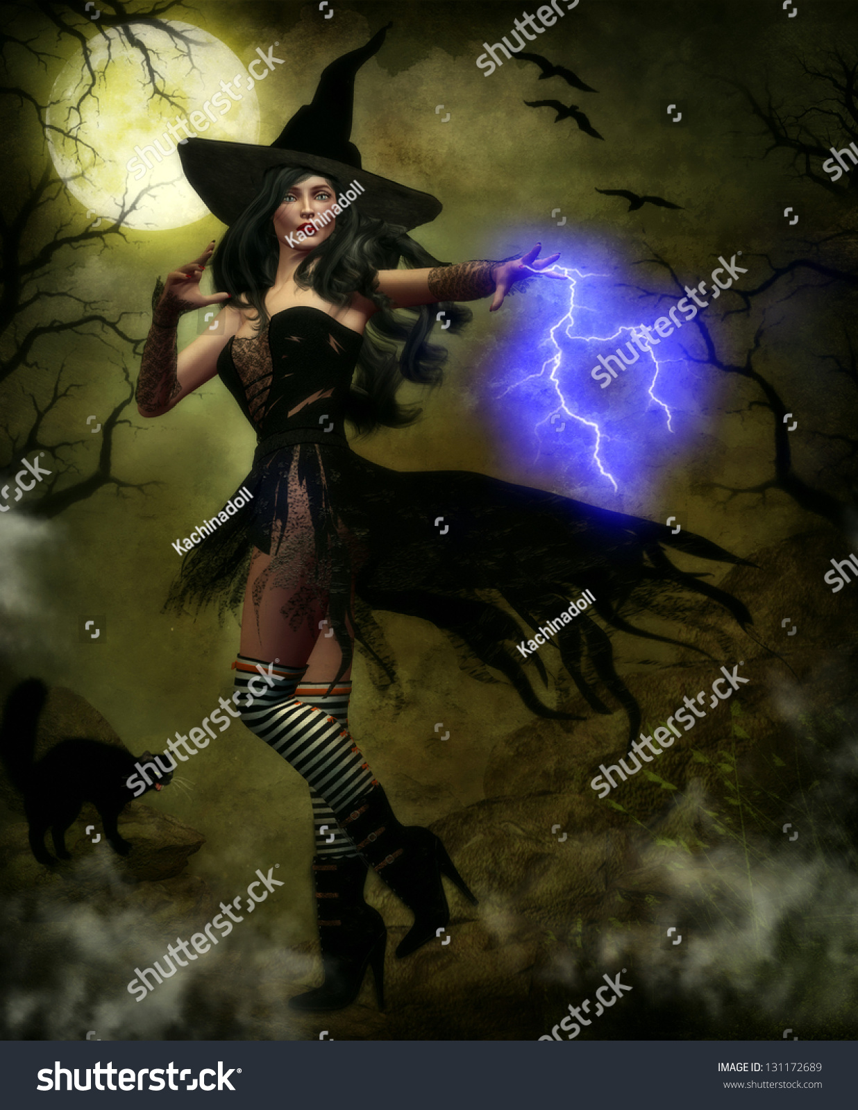 Beautiful Female Witch Wearing A Black Tattered Corset And