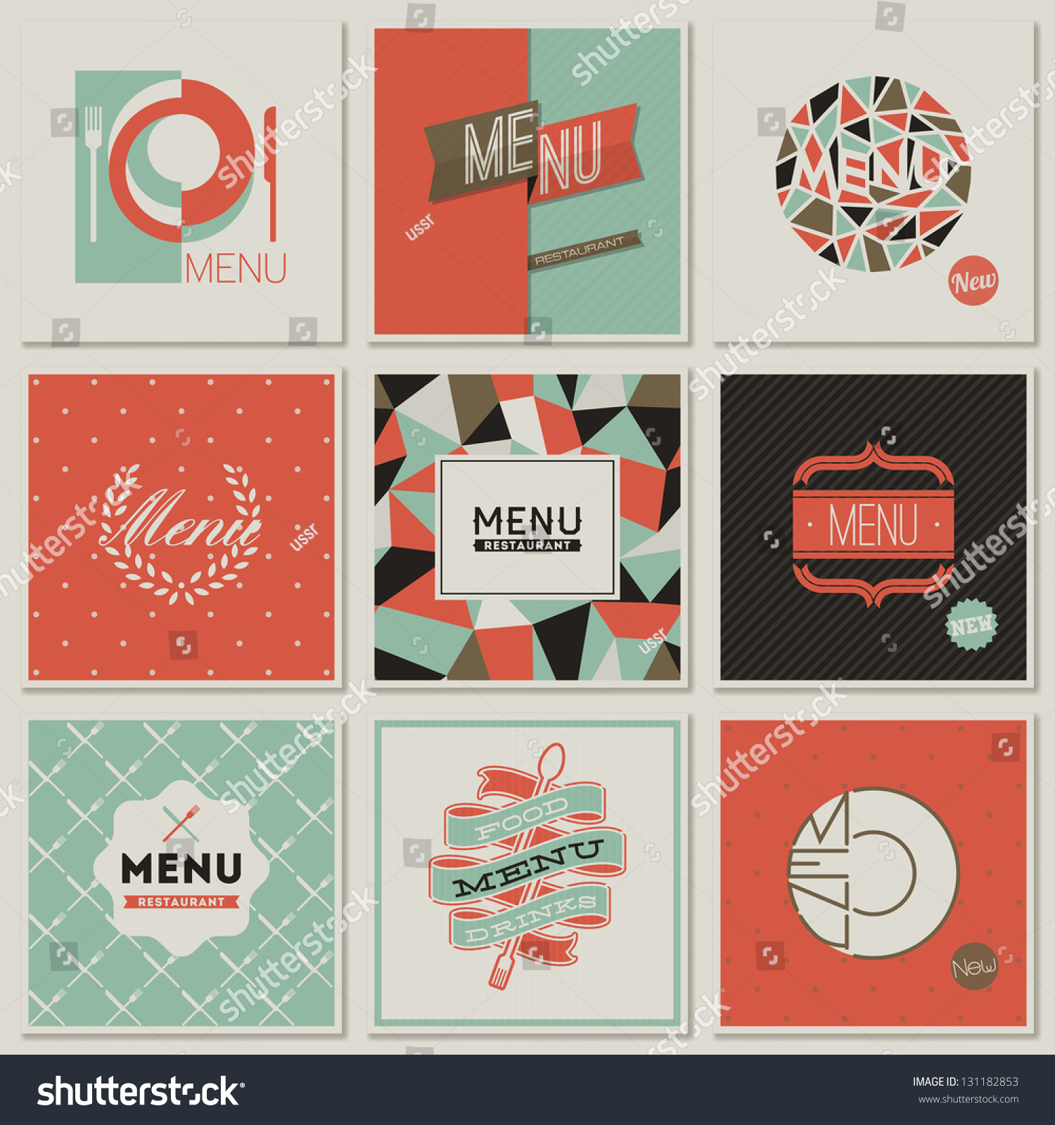 Restaurant menu designs collection retrostyled vector