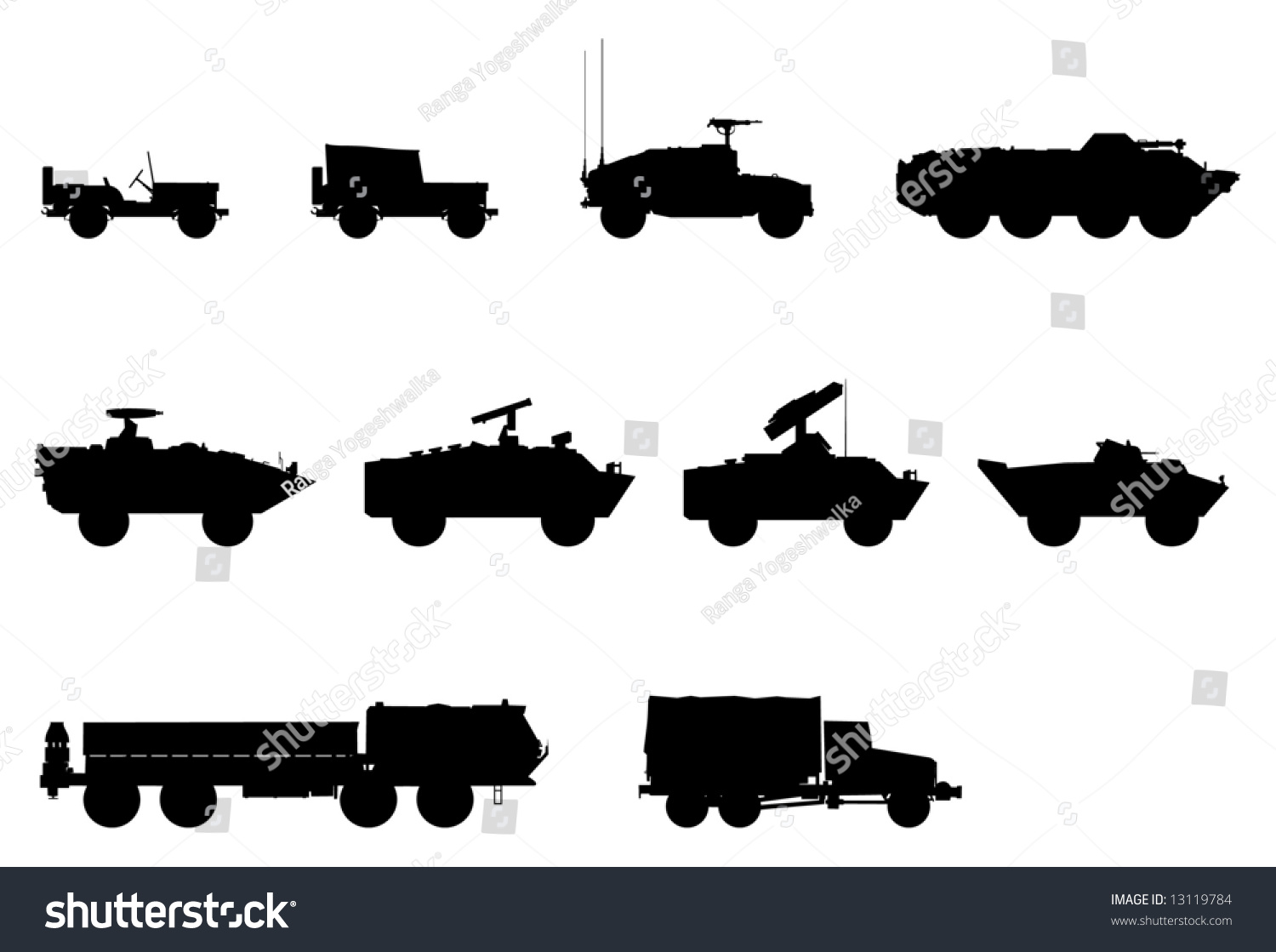vector silhouettes of military vehicles 13119784
