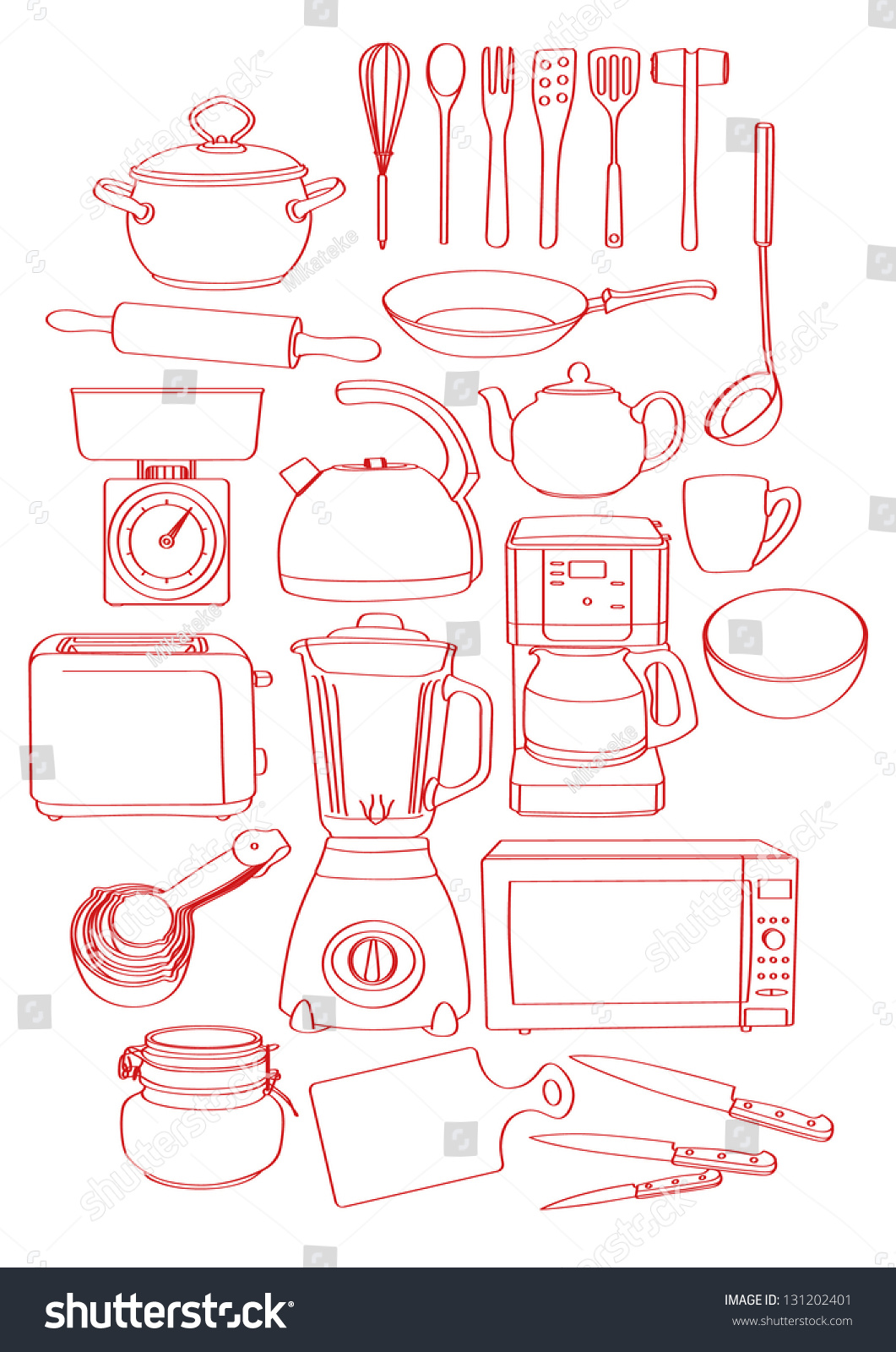Kitchen Tools Drawing Sketch Drawing Bunch Kitchen Tools Kitchenware Stock Vector