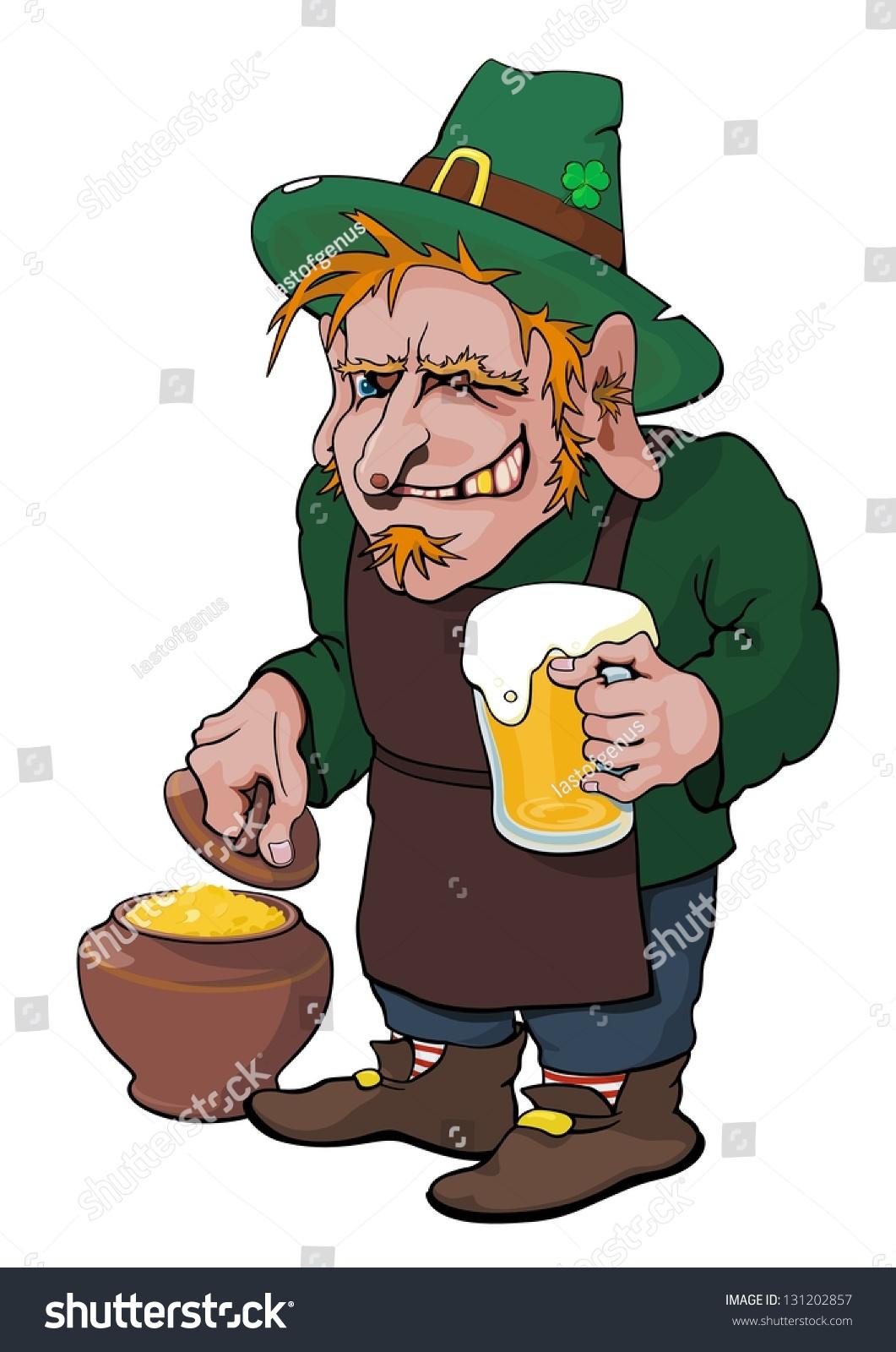ugly smiling leprechaun beer shows pot stock illustration