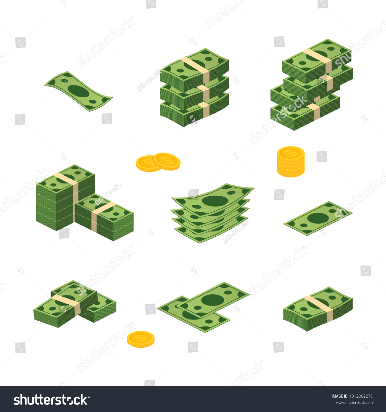 Various money bills dollar cash paper bank notes vector set. Money cash heap. Vector stock illustration.