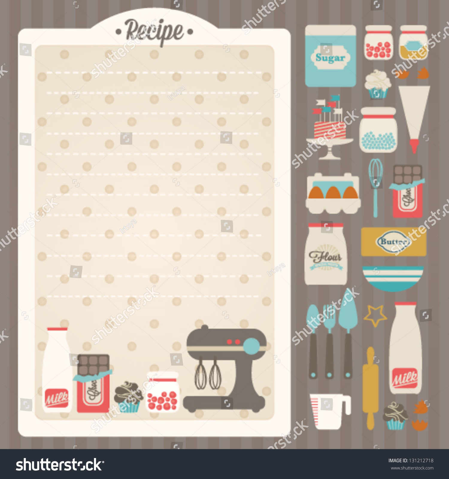 Sweet Recipe Vector Card Template Kitchen Stock Vector