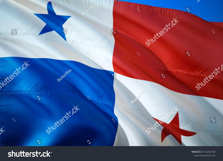 Panama flag. 3D Waving flag design. The national symbol of Panama, 3D rendering