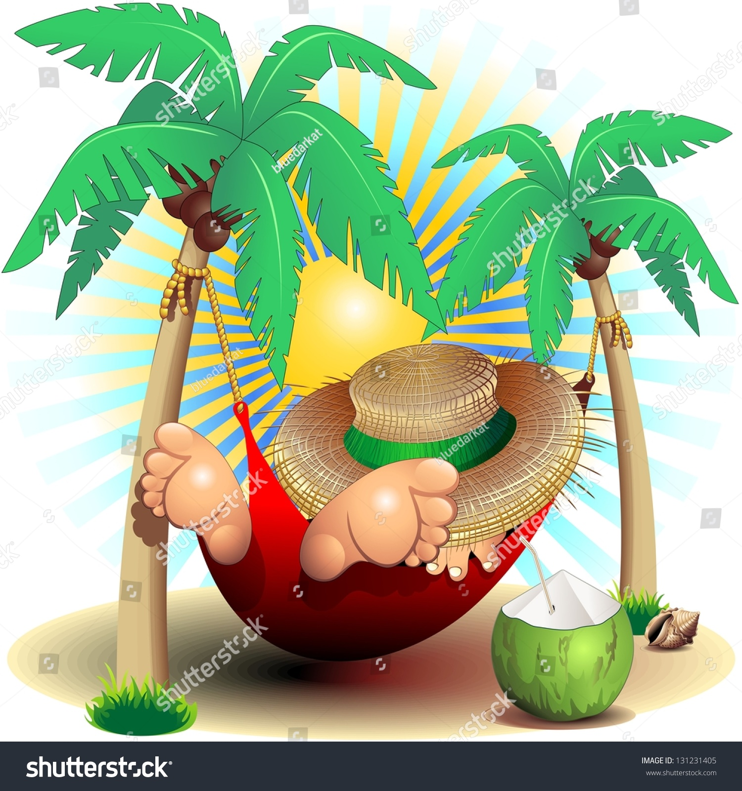 relax exotic summer holidays on hammock stock illustration 131231405