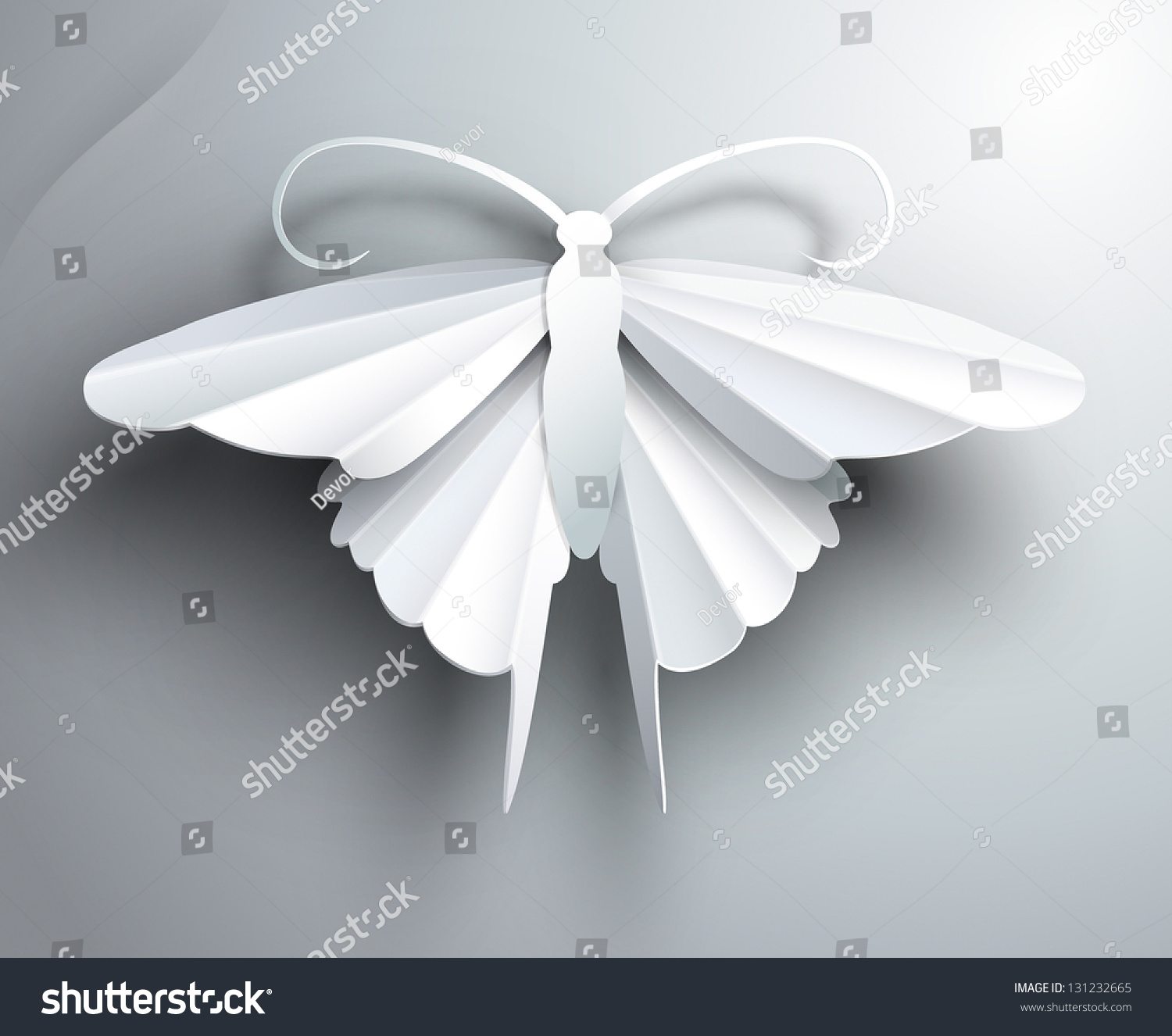 Beautiful white3d paper butterfly stock vector for White paper butterflies