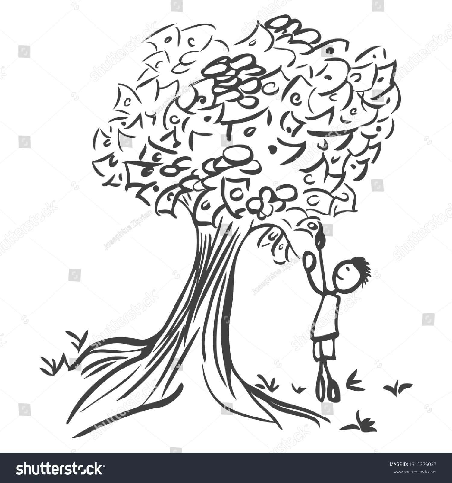 Pencil sketch of a stick man picking money from a tree the outline is dark