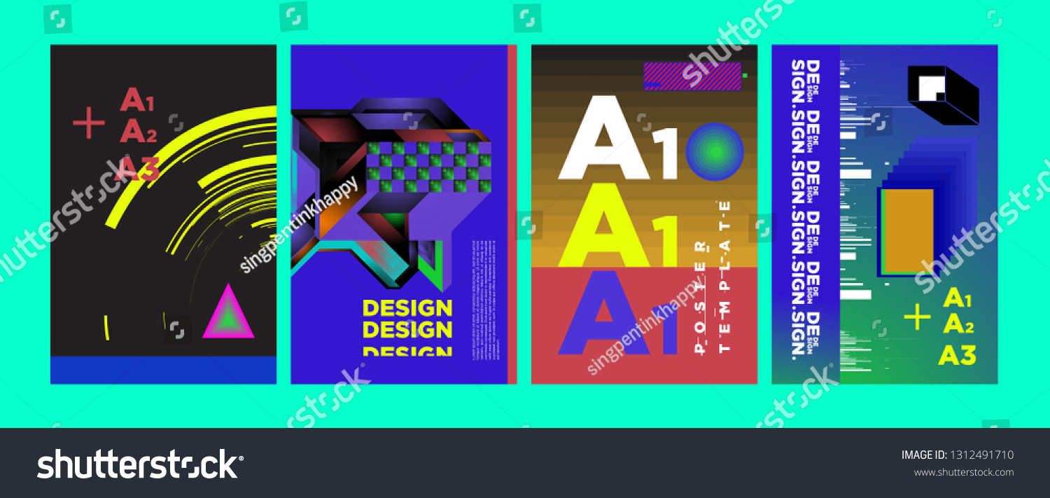 Abstract Geometric Collage Poster Design Template Stock Vector