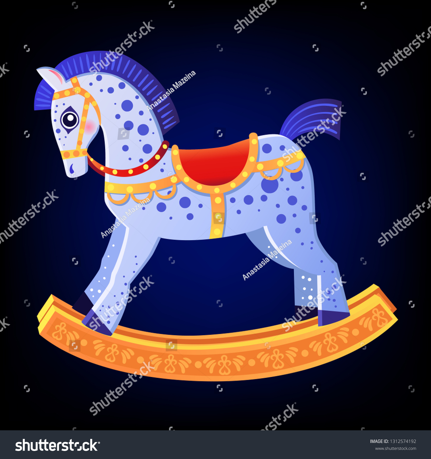 Cute Cartoon Rocking Horse Christmas Cartoon Stock Vector Royalty Free 1312574192