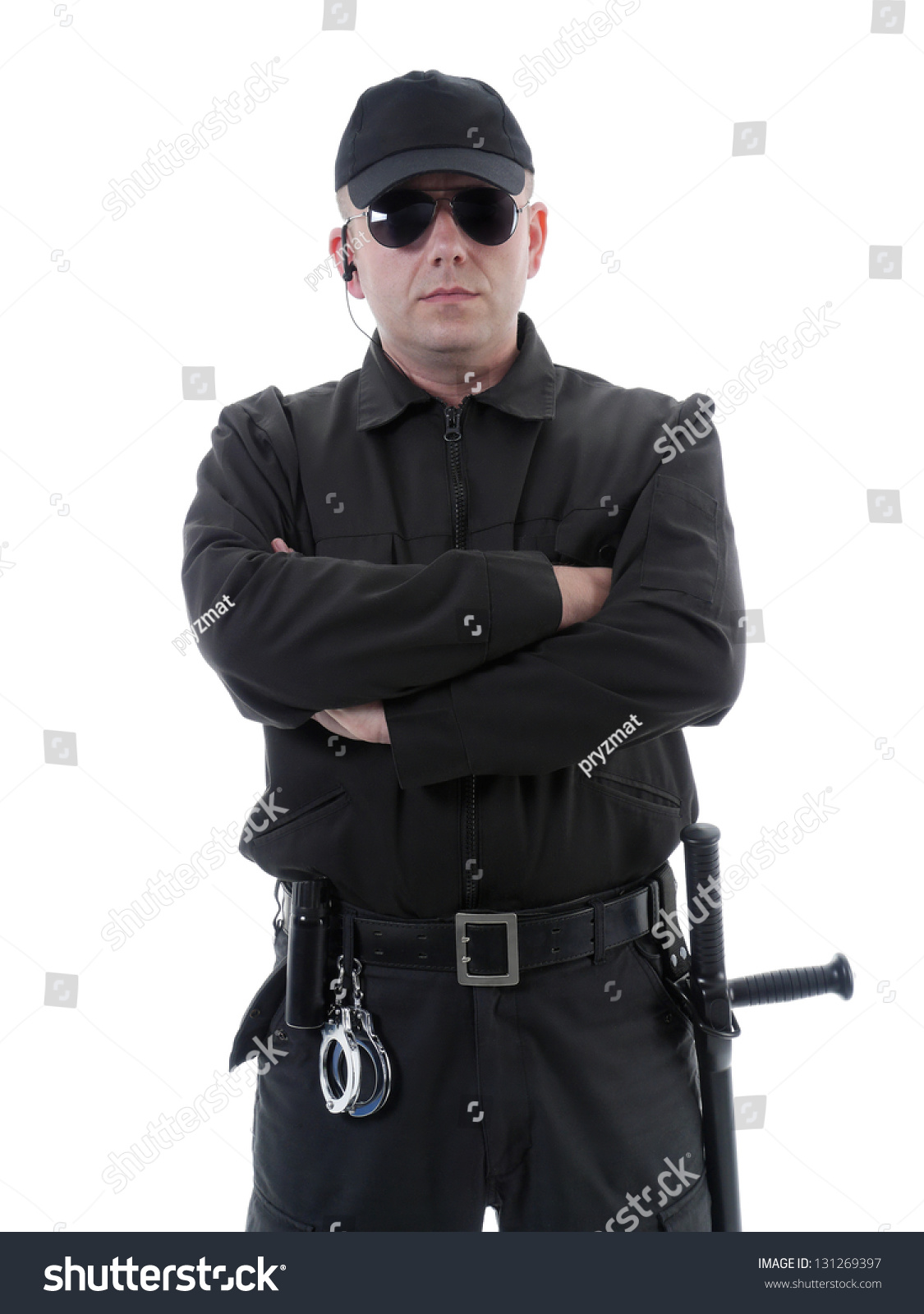 stock-photo-policeman-or-security-guard-wearing-black-uniform-and-glasses-standing-confidently-with-folded-arms-131269397.jpg